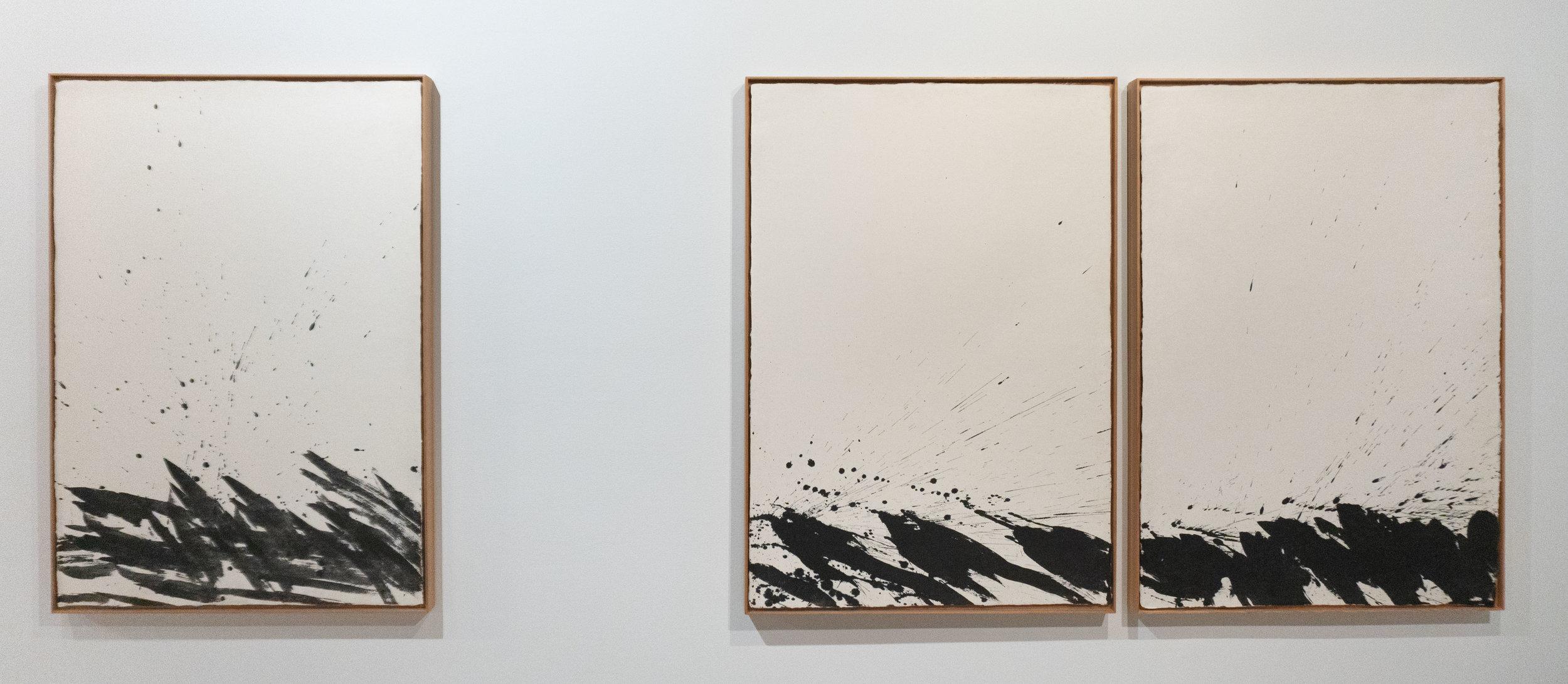Lim Hyunrak 임현락 b. 1963   The Wind is Rising 바람이 일다 2015 Ink on Hanji paper each 27 ½ x 29 ⅜ in