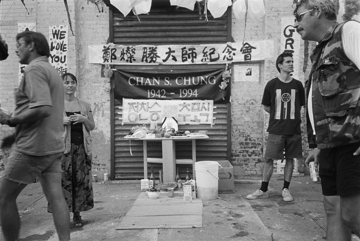 A memorial service in memory of Chan S. Chung in front of his Greenpoint studio in Brooklyn. Photo by Lim Young Kyun