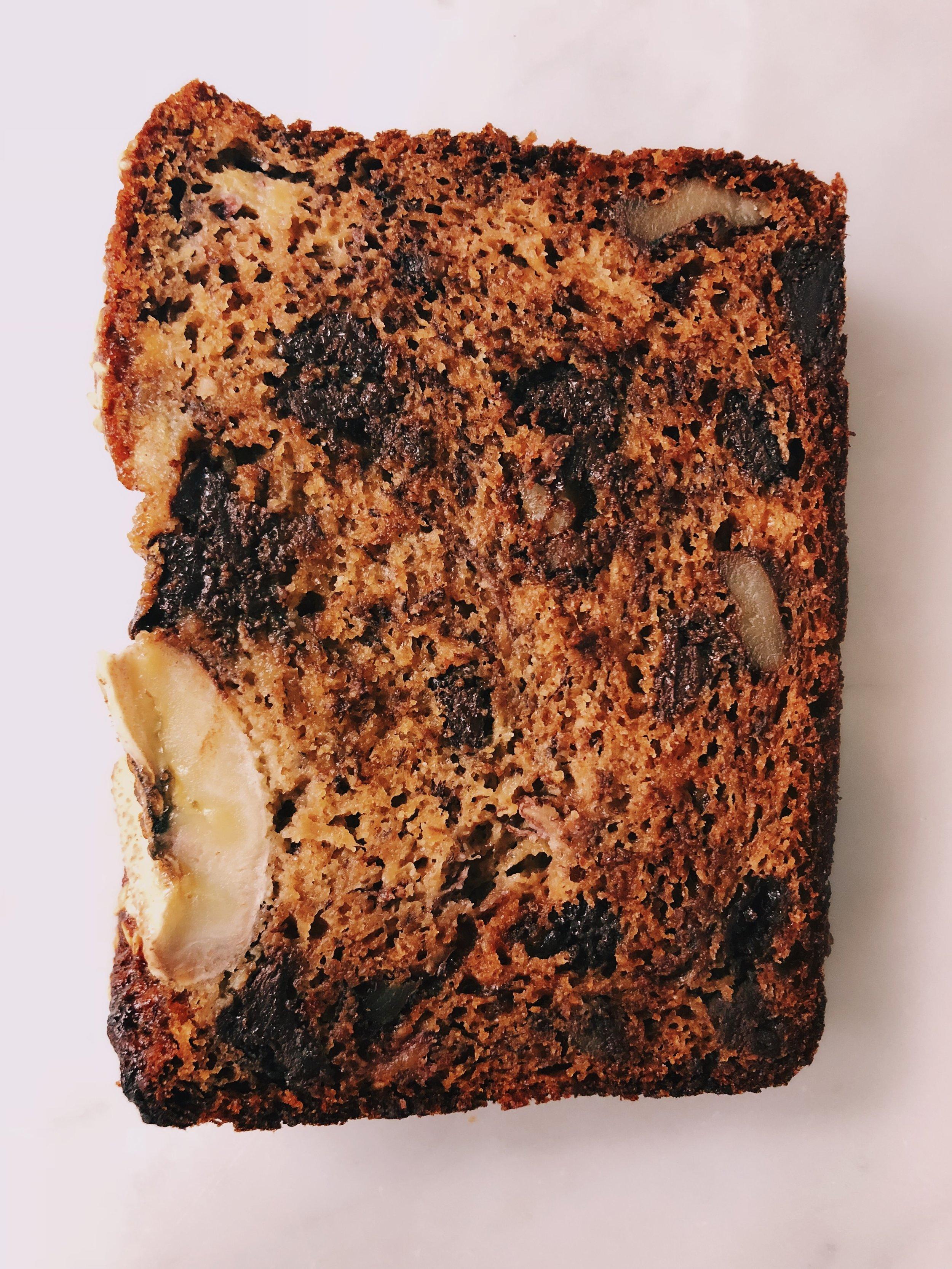 slice of chocolate chip pecan tahini banana bread by kalejunkie
