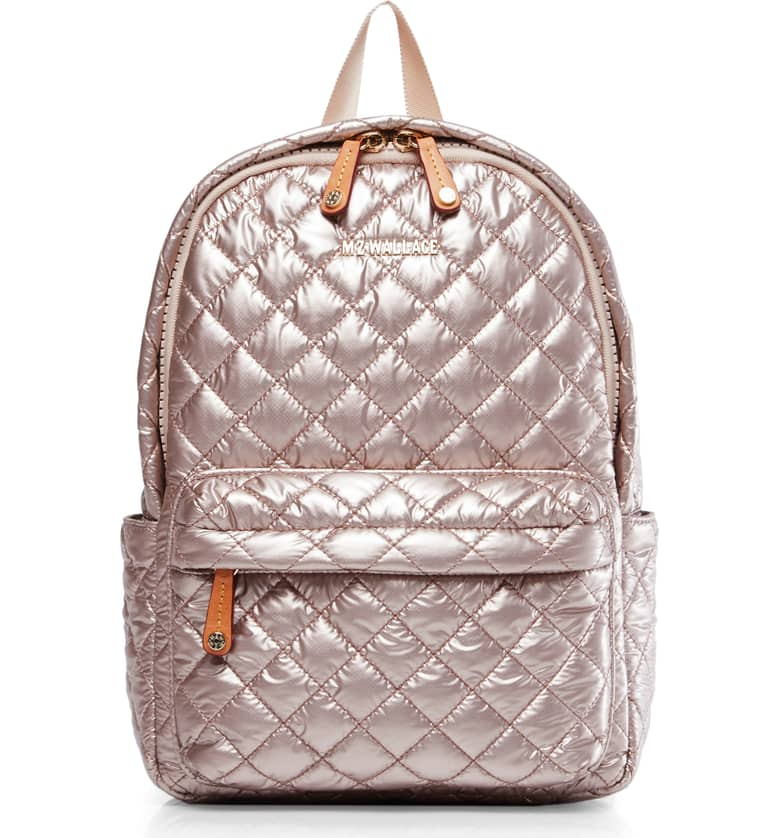 MZ WALLACE QUILTED ROSE GOLD METALLIC BACKPACK - By now, you guys all know that MZ Wallace is my absolute favorite brand of functional luxury handbags, backpacks, and travel pieces. They recently launched a limited edition ROSE GOLD backpack, and it's the bomb shizzy. Everywhere I go, people stop me and want to know where they can get one. Don't dig the rose gold? That's ok, pick a color, any color. ($245)