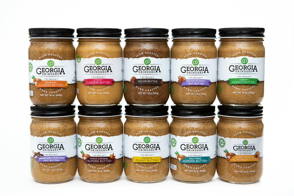"""GEORGIA GRINDERS NUT BUTTERS - Georgia Grinders nut butters are my favorite nut butters on the market. I am obsessed with their regular almond butter, maple caramel almond butter, creamy cashew butter, and pecan butter (it's award winning!). On their website, you can even put together a little gift package for the loved one in your life. My code """"kjfreeship"""" will get you free shipping off orders > $25 from the Georgia Grinders website. (6-$15)"""