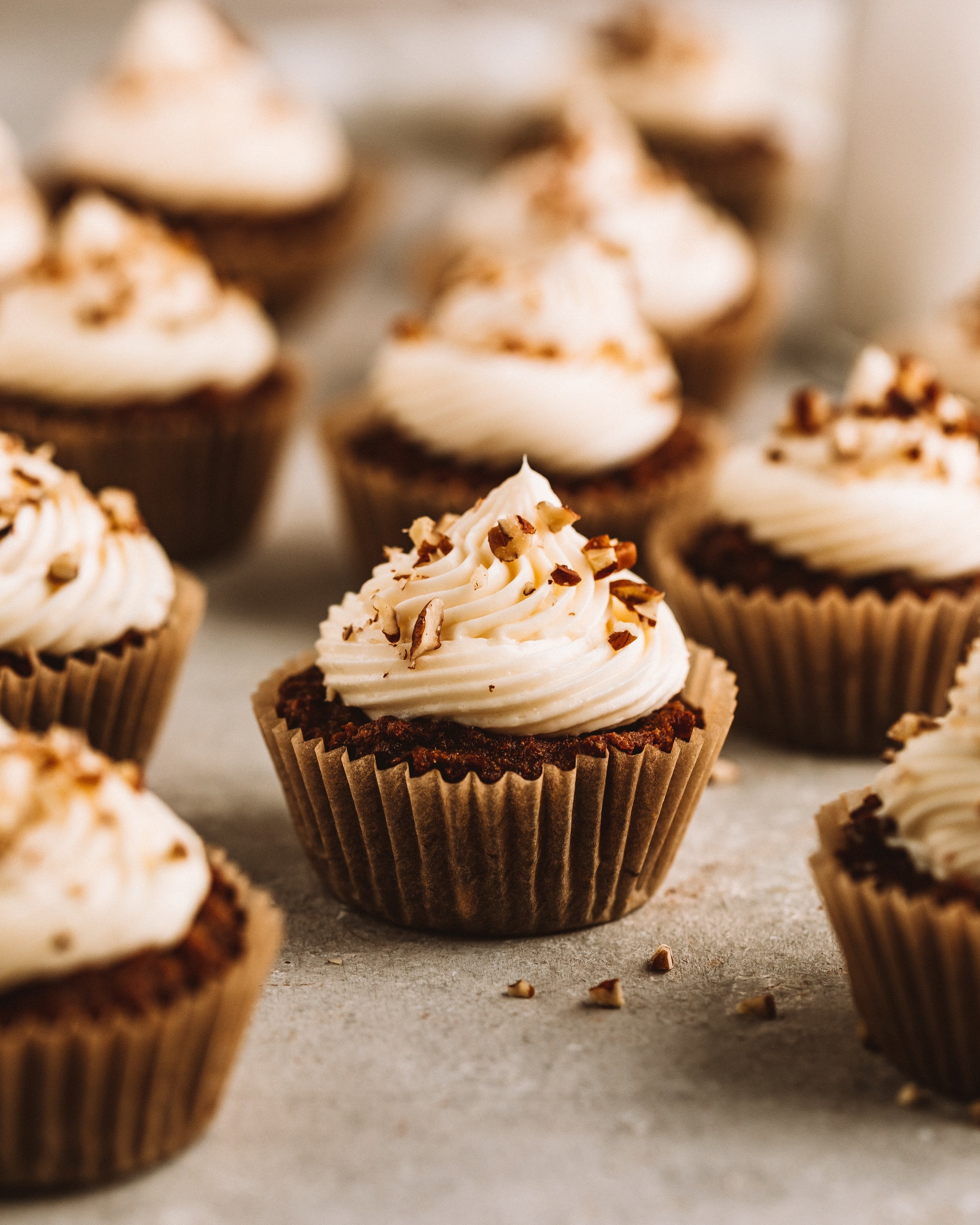 carrot cake caramel cupcakes with dairy free frosting by kalejunkie