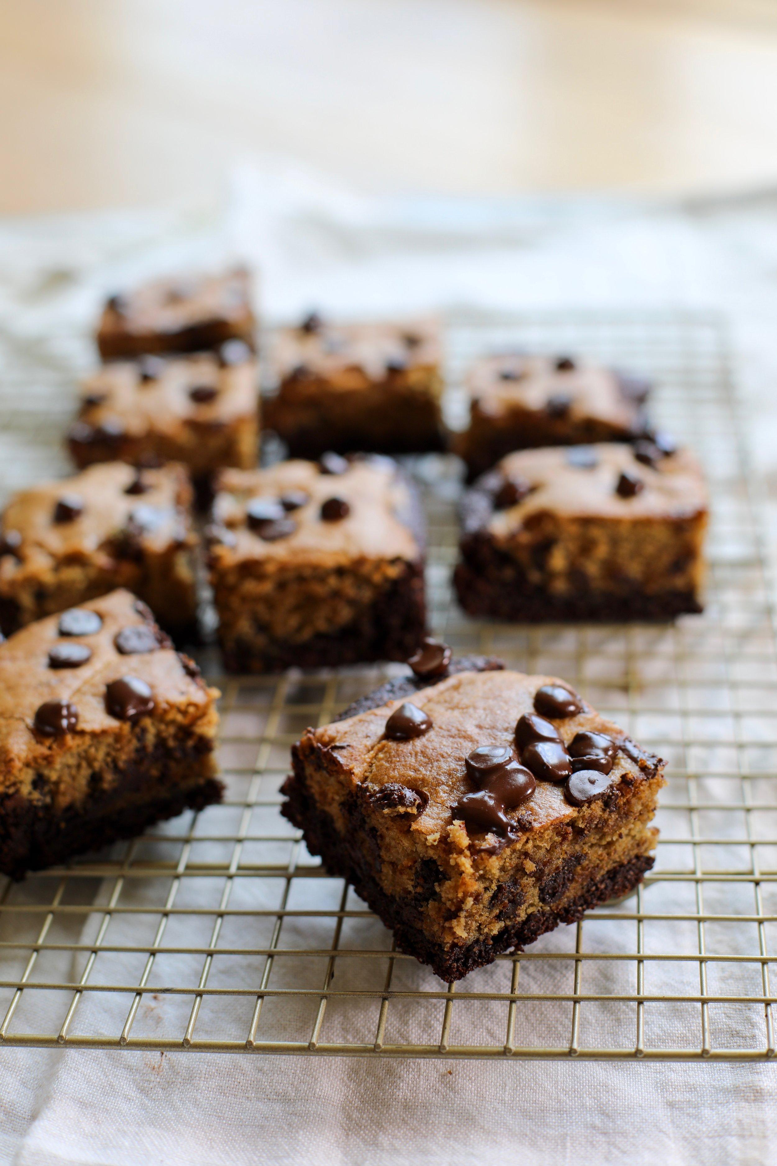 PALEO TAHINI BROOKIES - INGREDIENTS1 box Simple Mills Brownie Mix2 eggs1/2 cup oil or butter3 tablespoons water+ Kalejunkie's Life Changing Tahini Chocolate Chip Cookies