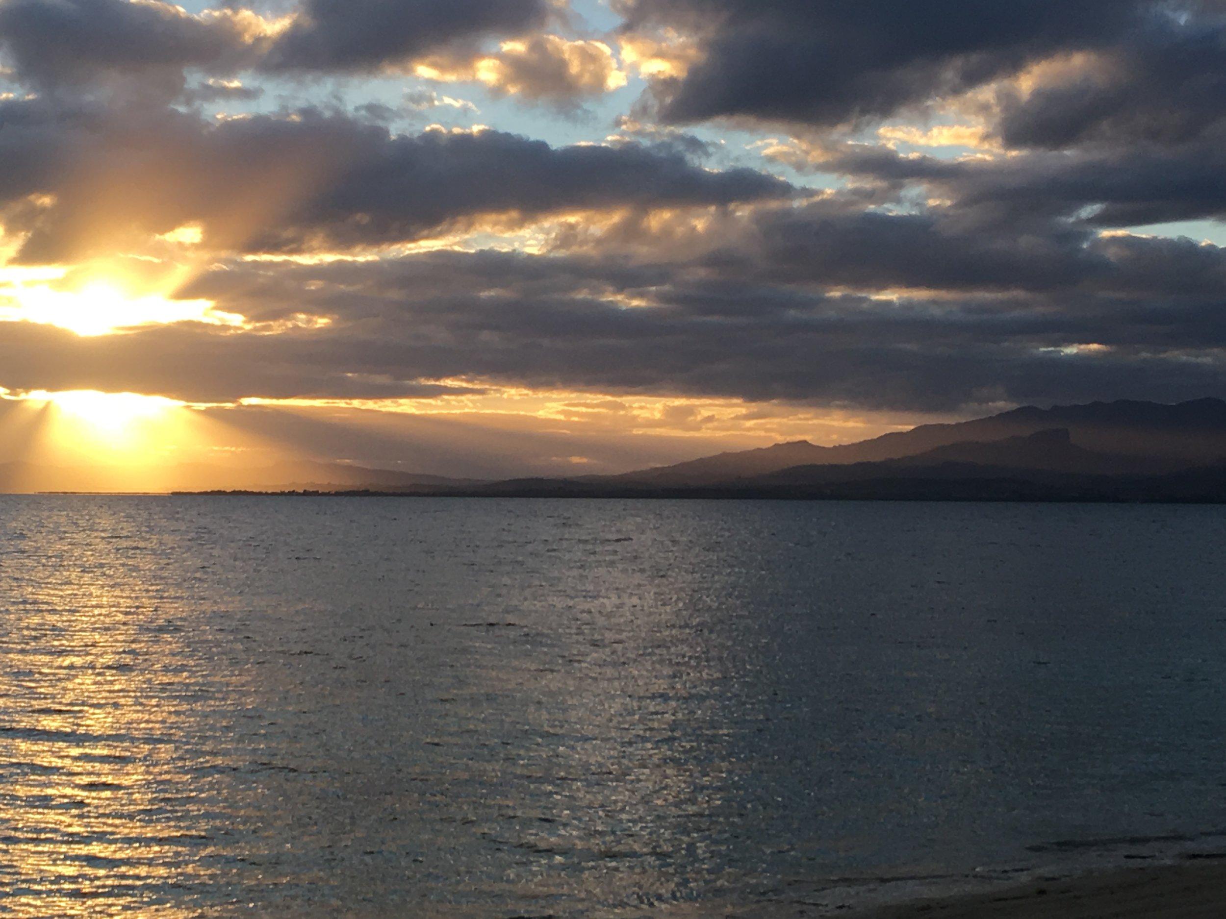 Sunsets over mainland Fiji.