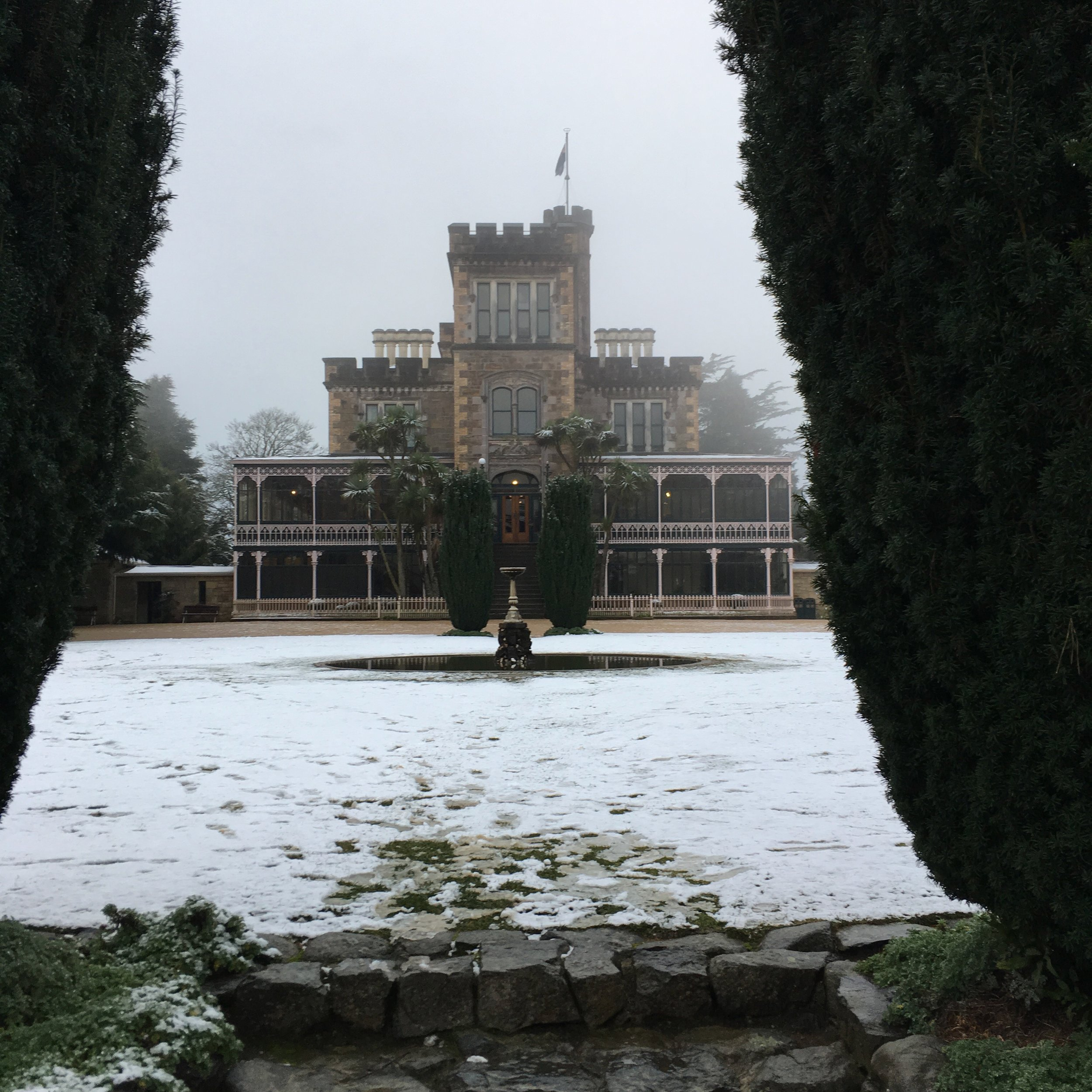 Larnach Castle and Gardens gets its first snow of the season. This is the only castle in NZ.