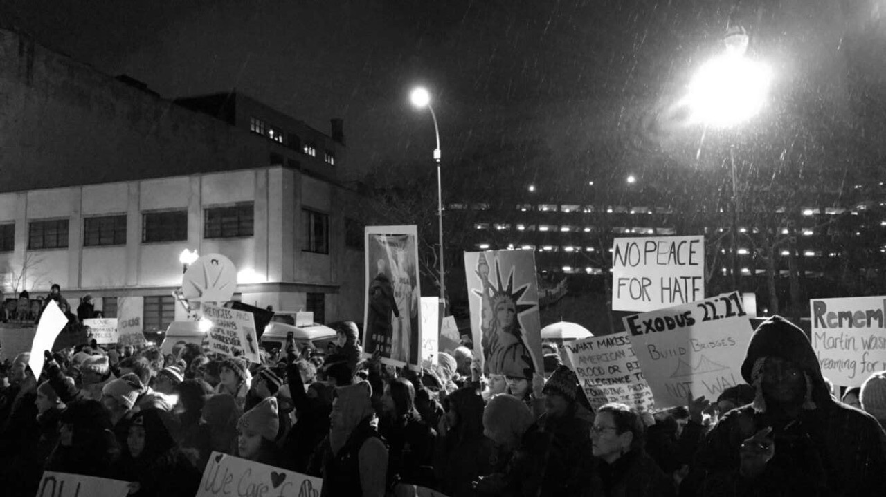 A snapshot of Worcester's Solidarity Rally captured by  Lizzie Douglass '19.