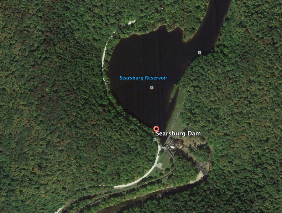 A bird's eye view of the Searsburg Dam and Reservoir.  (Source: Google Earth)