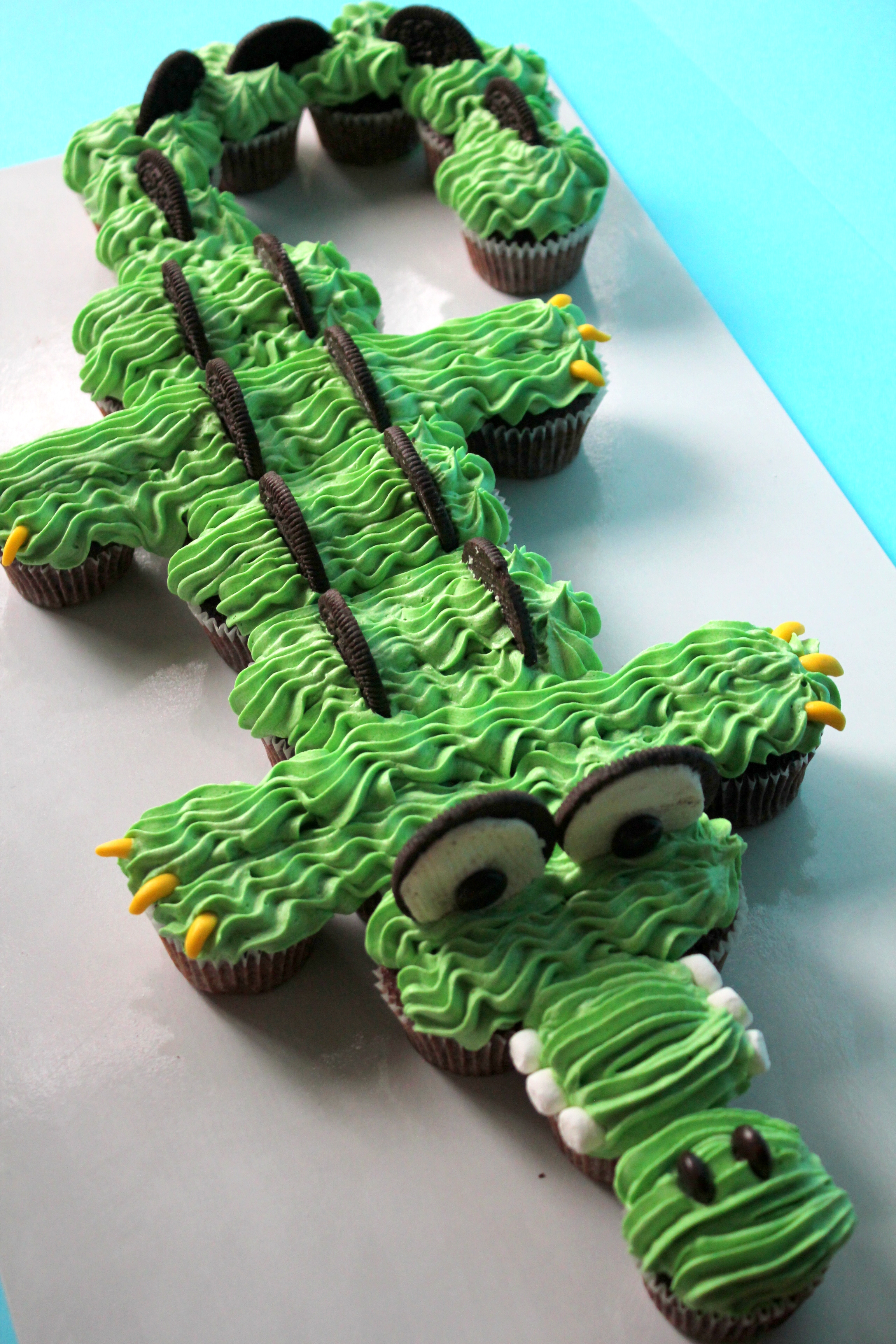 """6th BIRTHDAY PARTY  """"We ordered a crocodile shaped cupcake cake for my son's reptile themed sixth birthday party and it was fantastic!I'd just had my third baby two weeks earlier so the ease of ordering and delivery on the day made it stress free. The cupcakes and buttercream icing were delicious and everyone enjoyed them.""""  - Kate Sproule"""