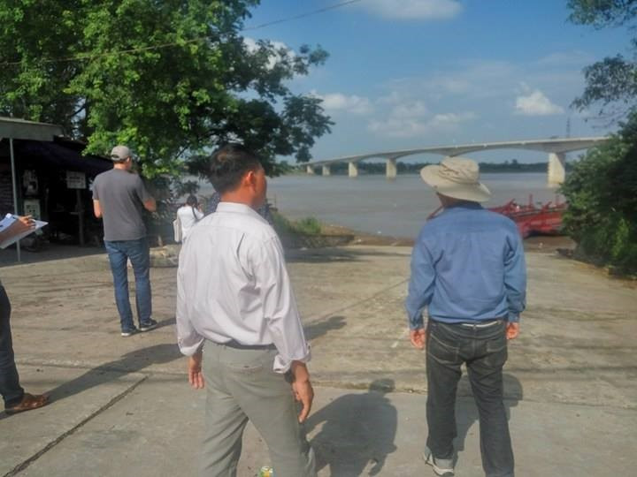 Our river group walked with villagers to see the Red River and new-built bridge