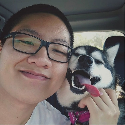 Andrew Sebastian Kwan and his mini Huskey, Winter
