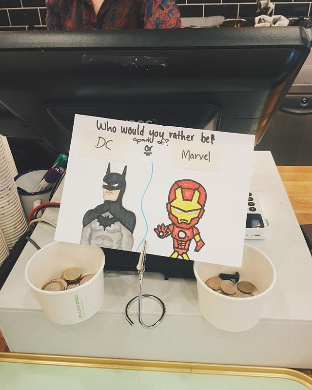 Tip jar at my local coffee shop 😂 #dcvsmarvel