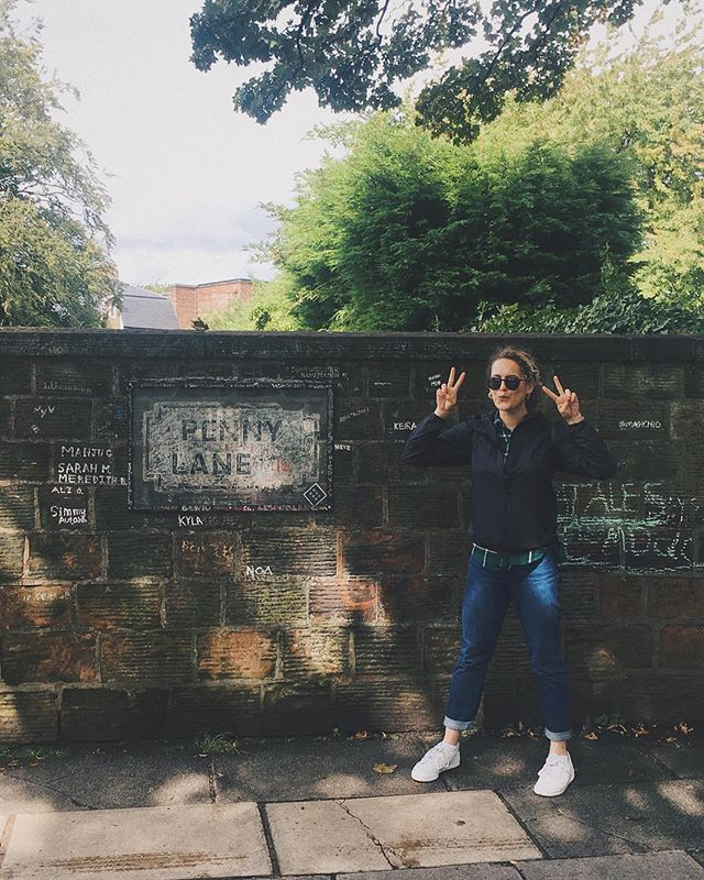 """Penny Lane in my ears and in my eyes, there beneath the blue suburban skies""  Exploring Beatles territory today. I made it to see the og penny lane sign in Liverpool. We had to squint to see Paul McCarthys signature but it was there!!!"