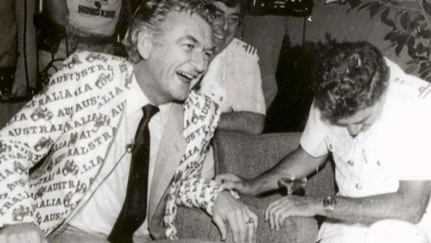 Bob Hawke celebrating the America Cup Victory at Royal Perth Yahct Club 1983.