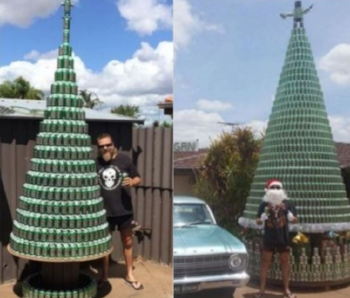 A 4.4m Chrissie tree made from VB cans Pic: Wesley Boyd.