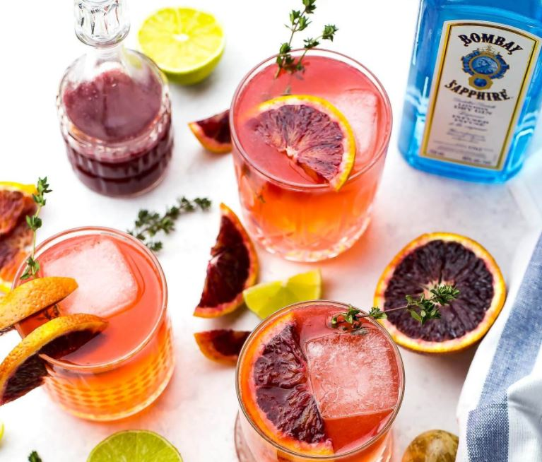 Image: A delicious looking blood orange and rosemary G&T.  Visit this recipe .