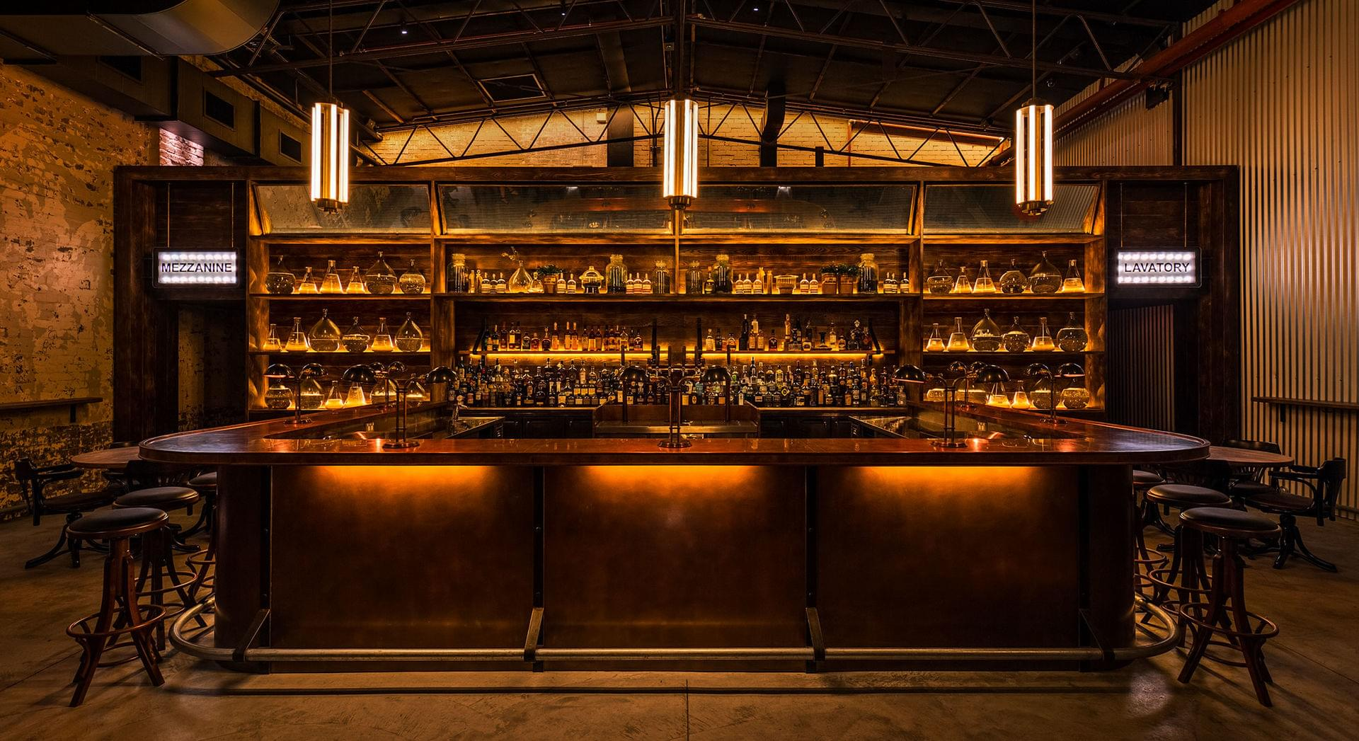 The bar at Archie Rose Distillery