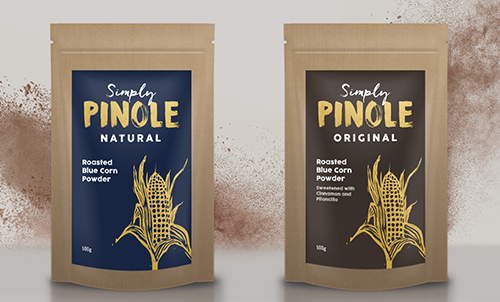 Simply Pinole - Ground blue corn, grown by indigenous communities in Mexico. Available in two flavours. Gluten-free, vegan, GM-free.