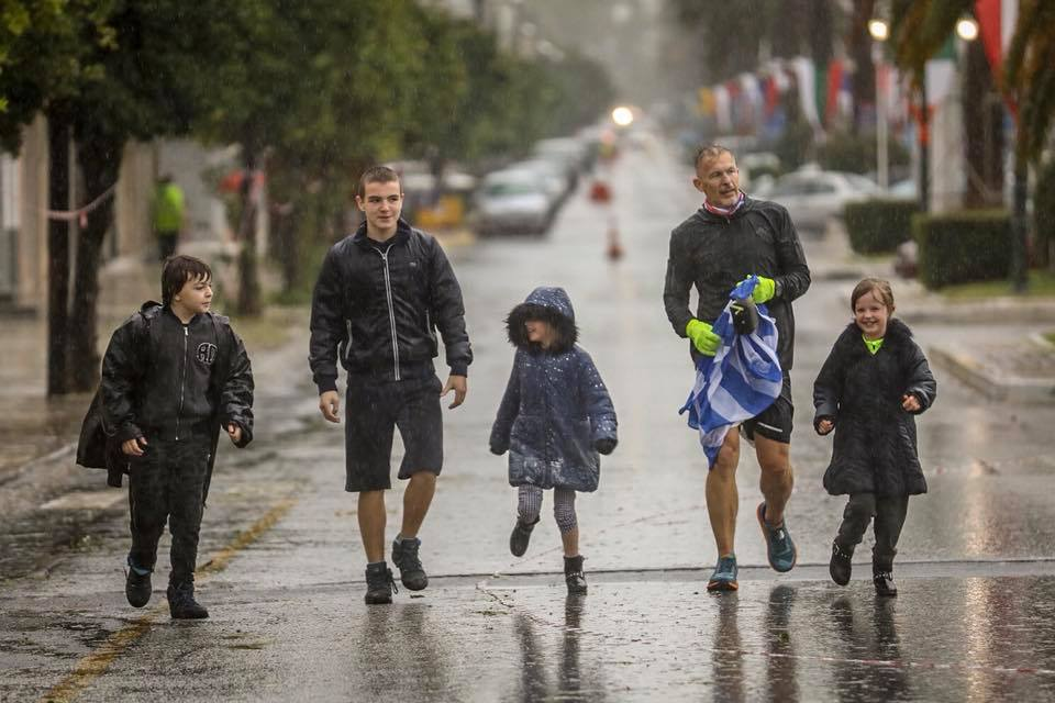 Coming to the finish - a real honour to run the last couple of hundred yards with the family. Pic Chris Mills
