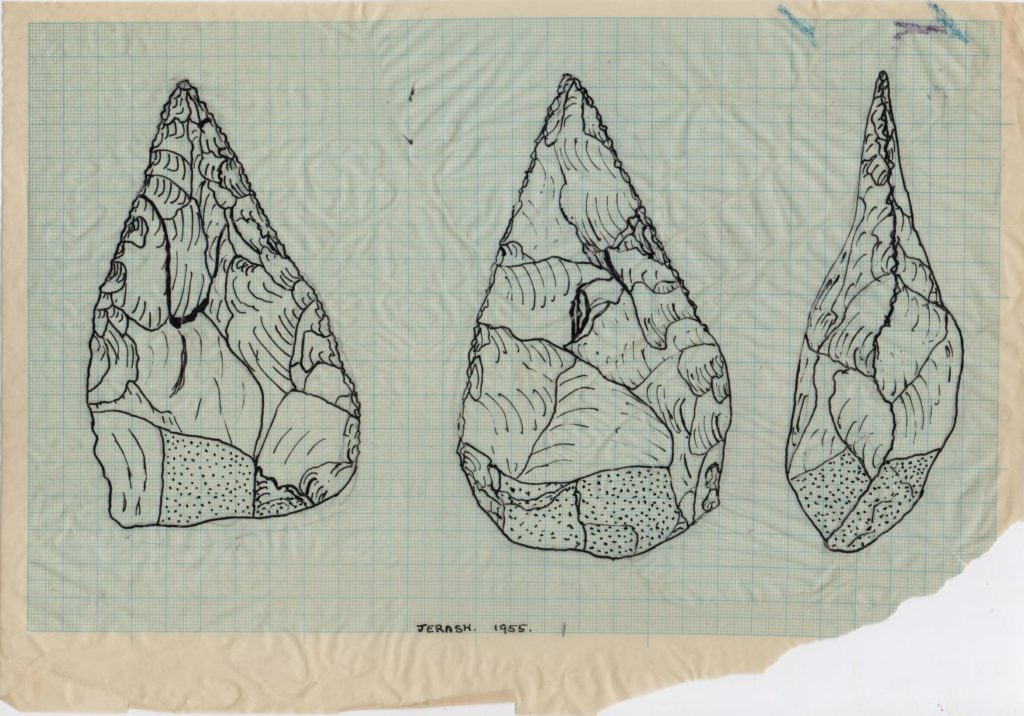 Drawing of a lithic from Jerash, from the Diana Kirkbride collection.