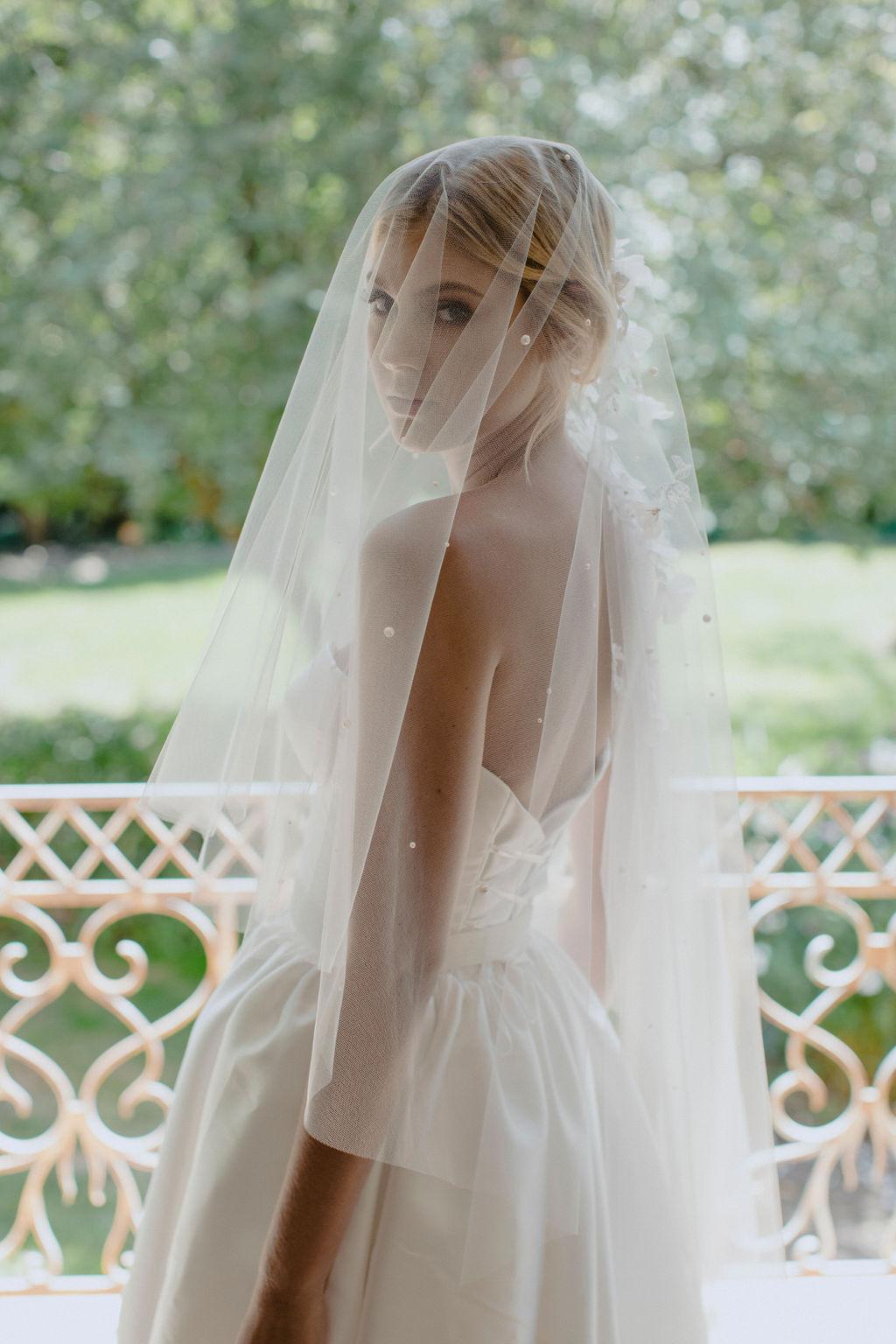 WEEPING CHERRY | EMBELLISHED SHORT WEDDING VEIL by TANIA MARAS