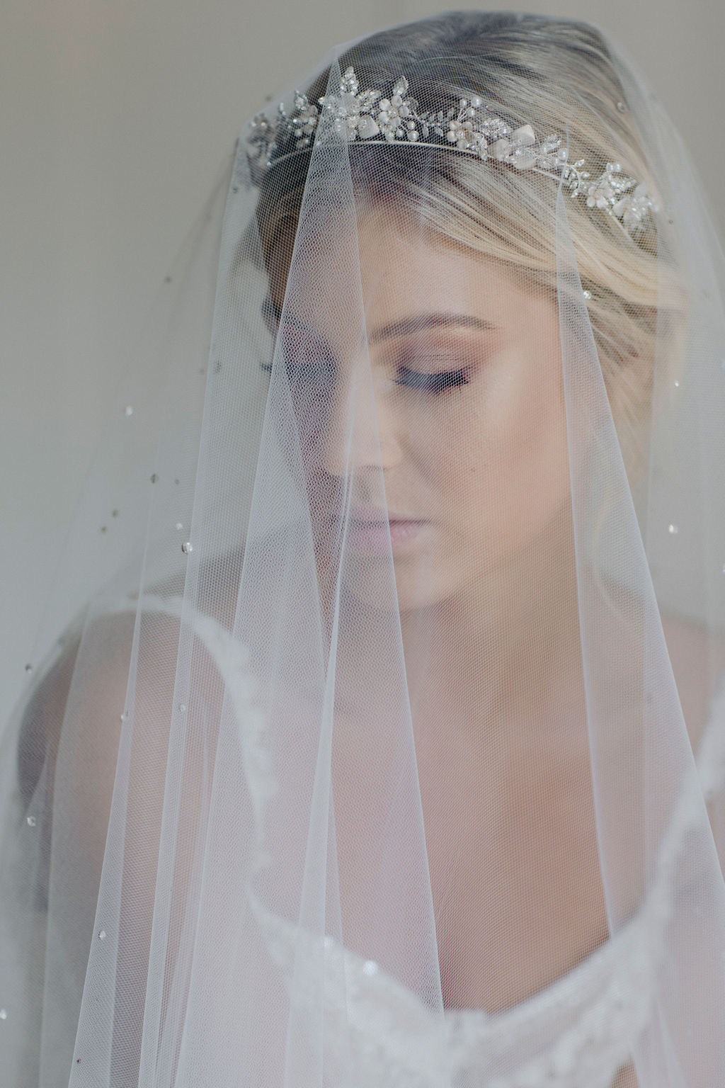 CASHMERE | CRYSTAL WEDDING TIARA & MORNING MIST VEIL by TANIA MARAS