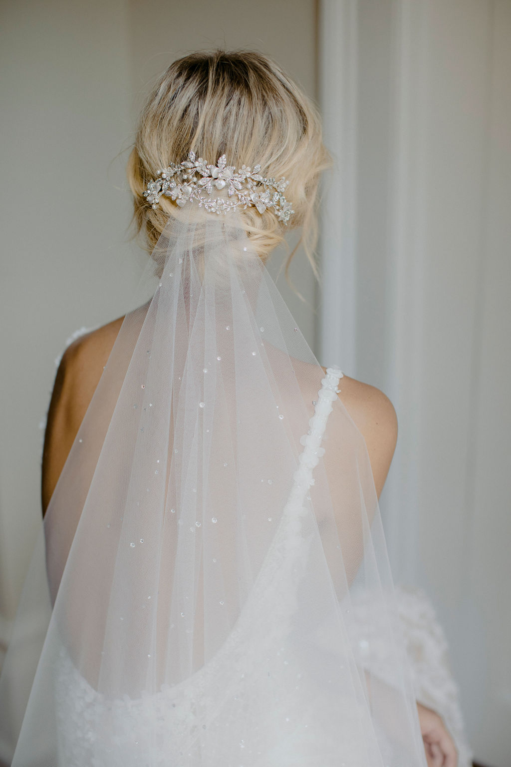 EVENING | CRYSTAL WEDDING HEADPIECE & MORNING MIST VEIL by TANIA MARAS
