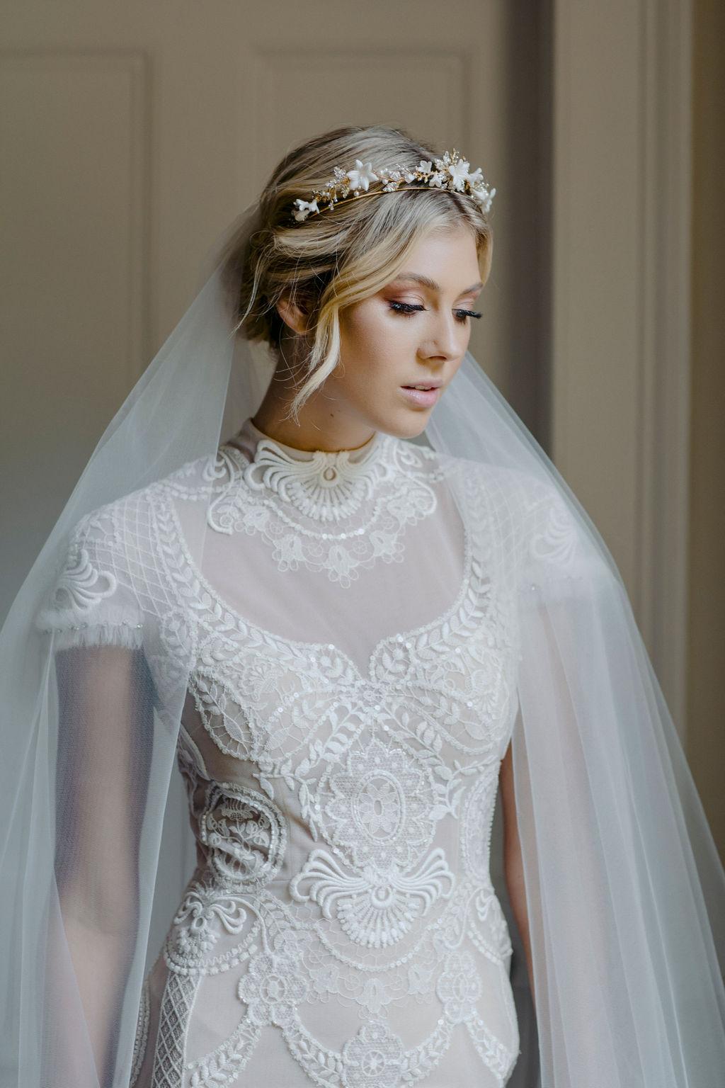 MARIETTE | WEDDING TIARA WITH CRYSTALS by TANIA MARAS