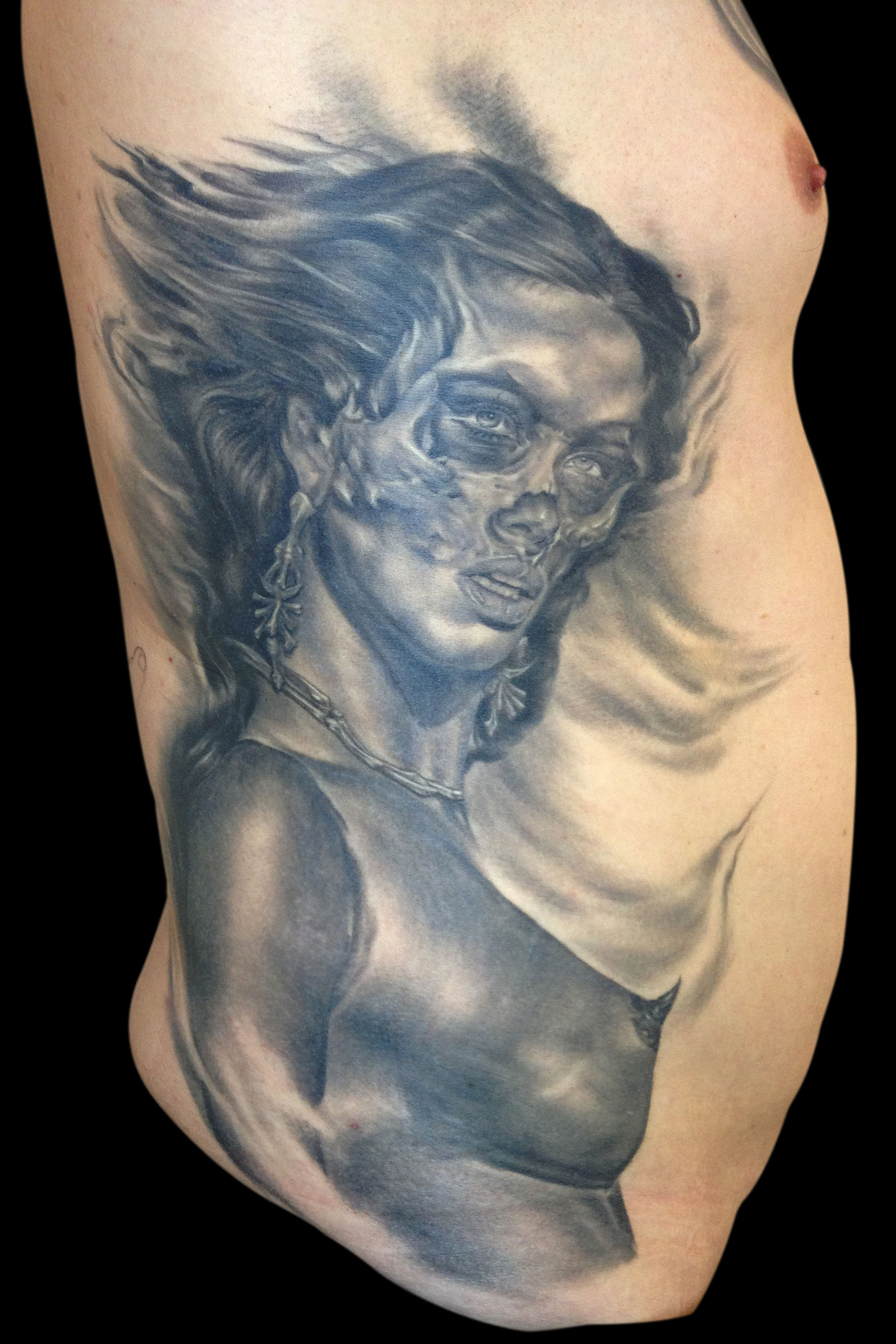 "Black and Grey ""Sex and Death"" Skull Woman Tattoo, (healed) ribs"