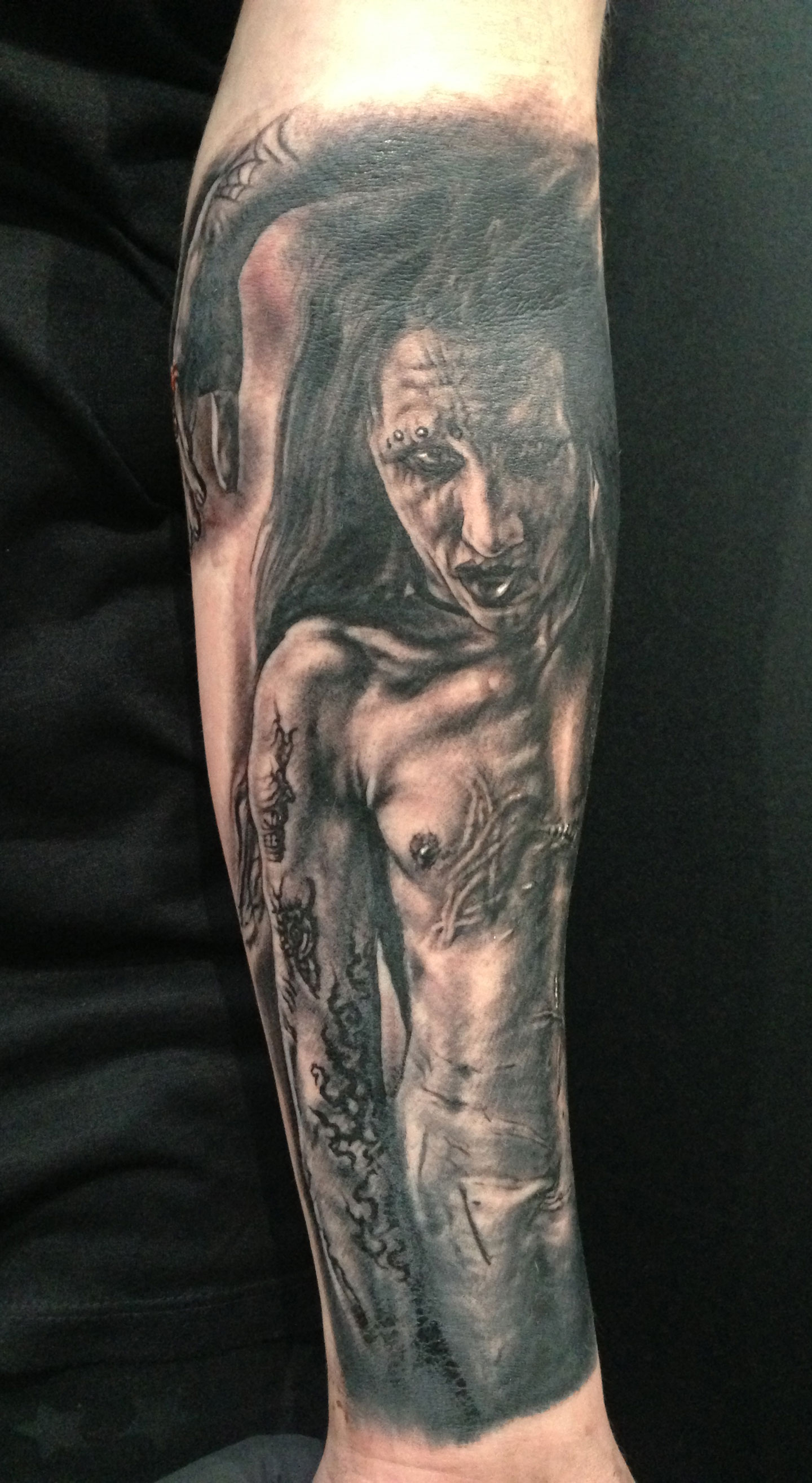 Black and Grey Marilyn Manson Portrait Tattoo, (fresh)