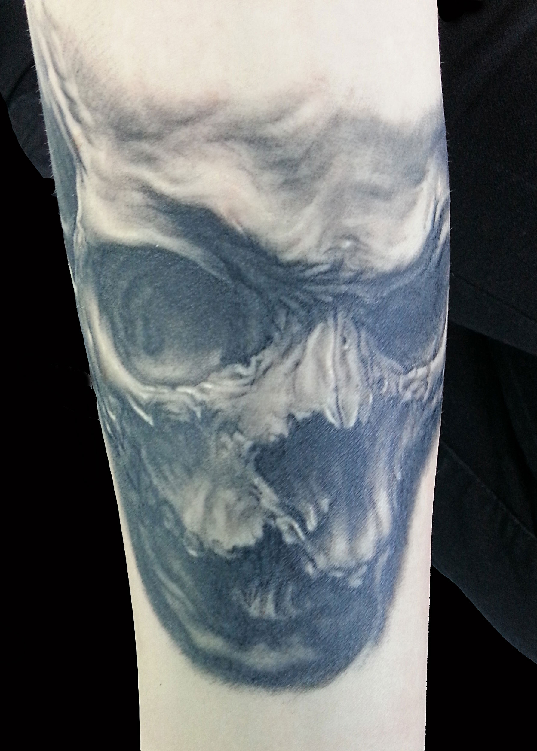 Black and Grey Evil Skull Realistic Horror Tattoo, (healed)