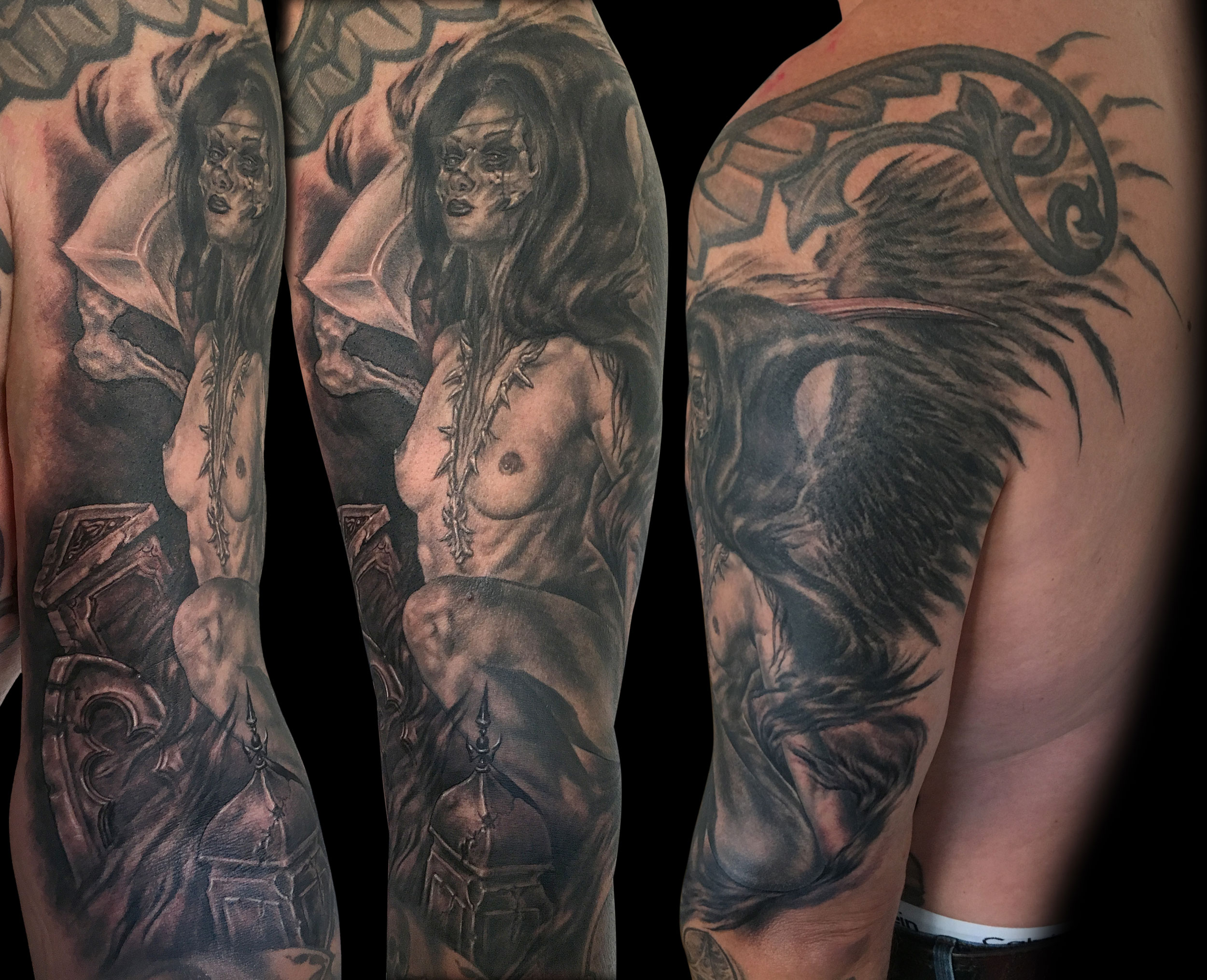 Black and Grey Angel of Death Tattoo, female winged figure (healed), with tombstones (fresh in this pic)