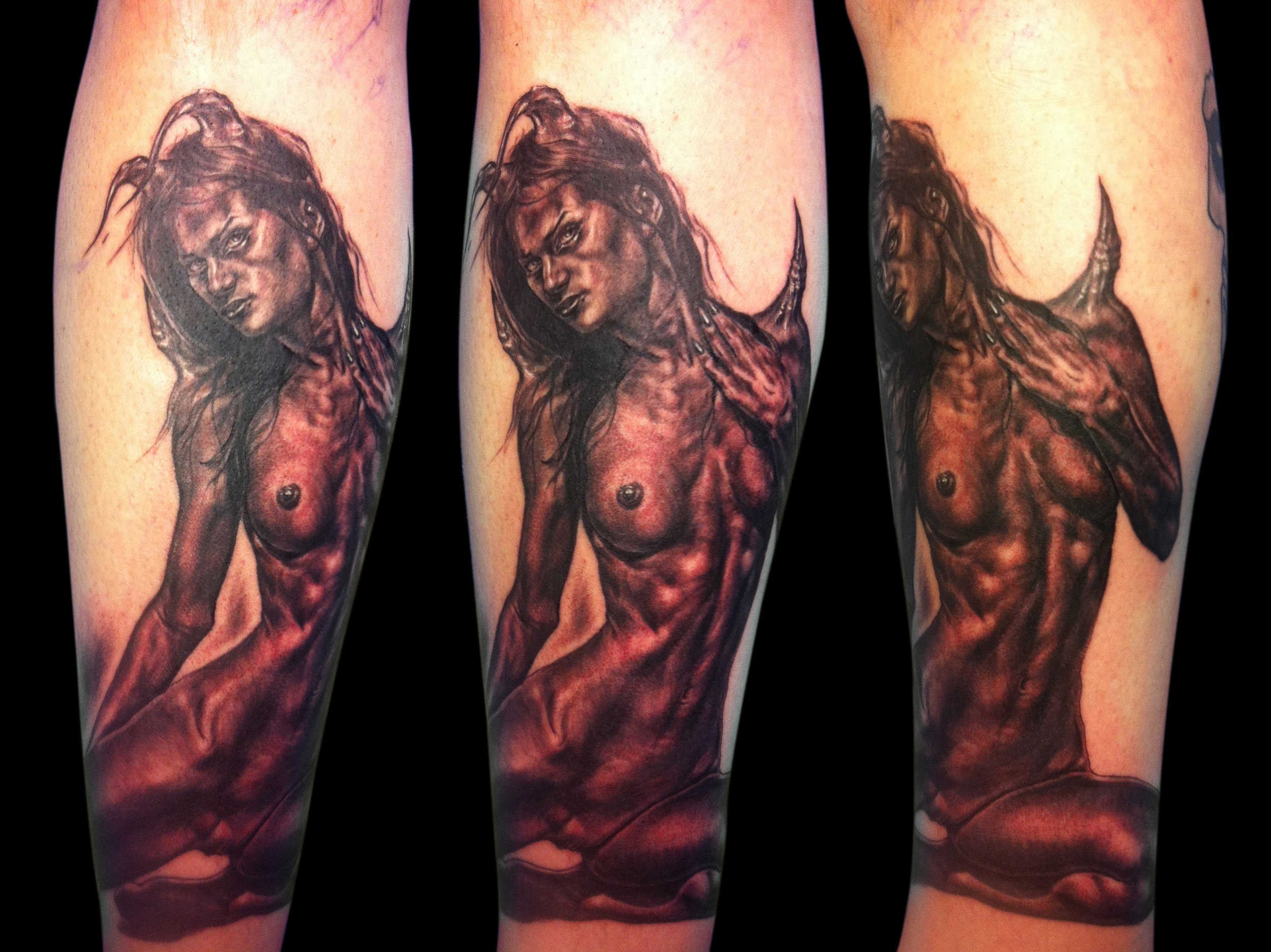 Black and Grey Nude Female Demon Tattoo, (fresh) multi angle