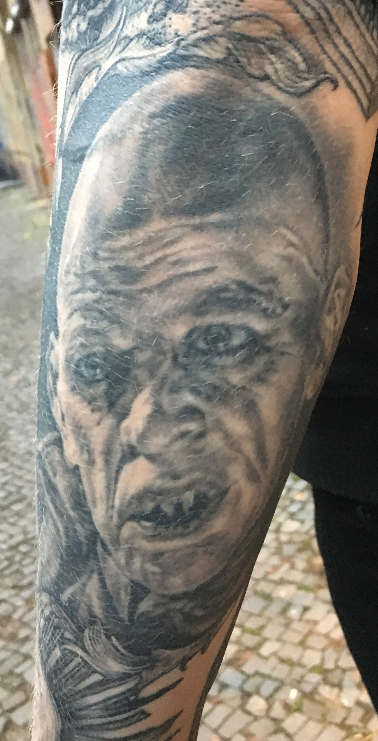 Black and Grey Klaus Kinsky Nosferatu Vampire Portrait Tattoo, (healed and 5 years old in this photo) Inferno Metal Fest, Norway