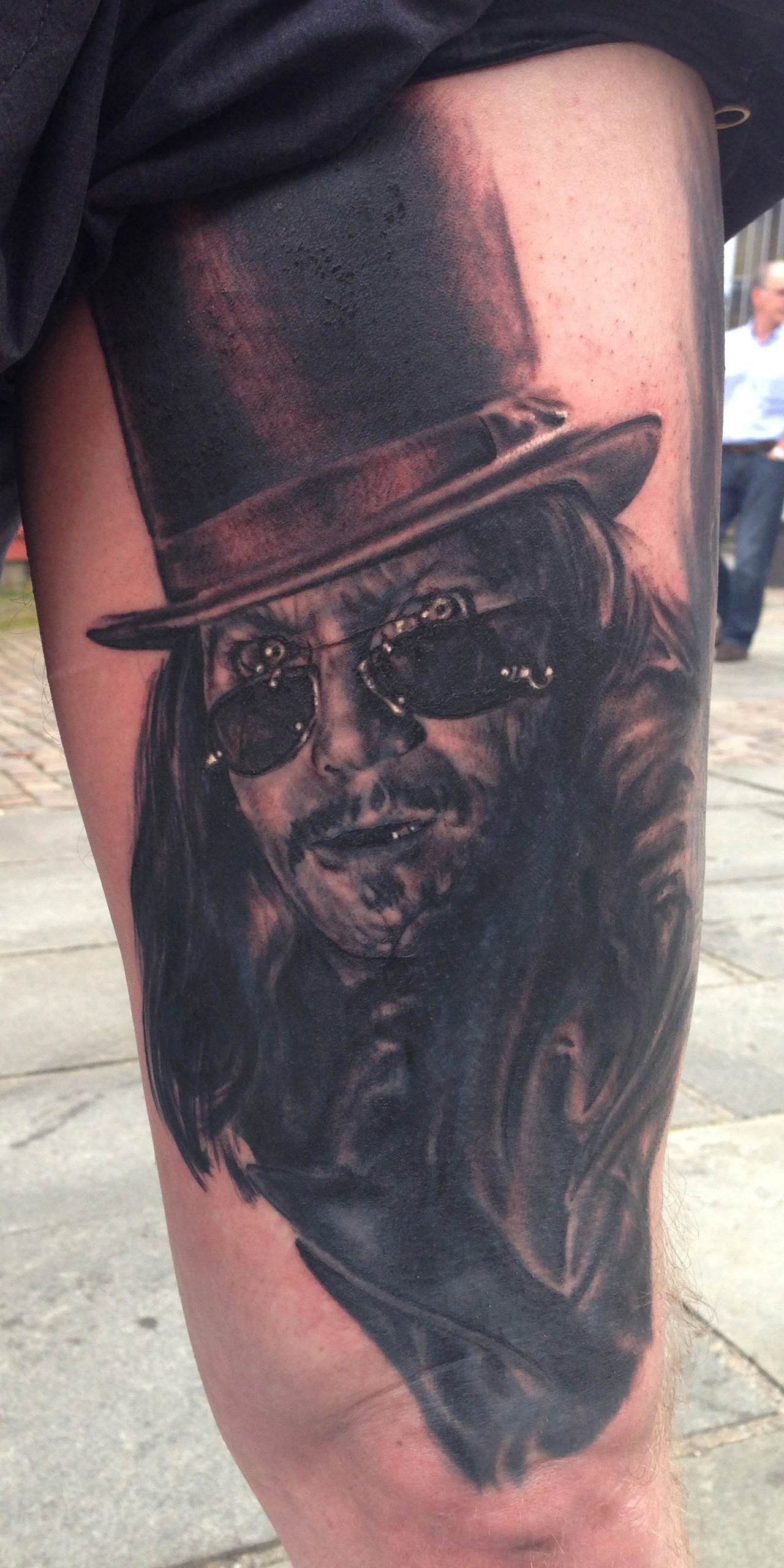 Black and Grey Gary Oldman Dracula Vampire Portrait Tattoo, (some fresh, some, healed) Stavanger Tattoo Convention, Norway