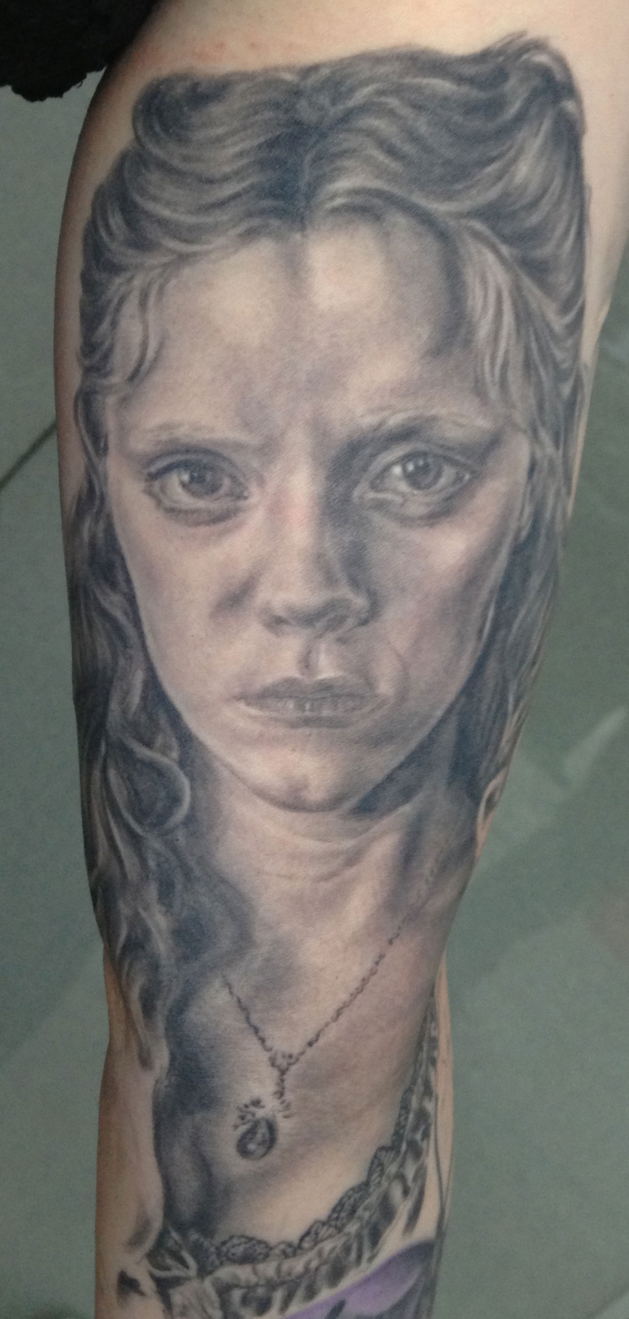 Black and Grey Christina Ricci Sleepy Hollow Portrait Tattoo, (healed)