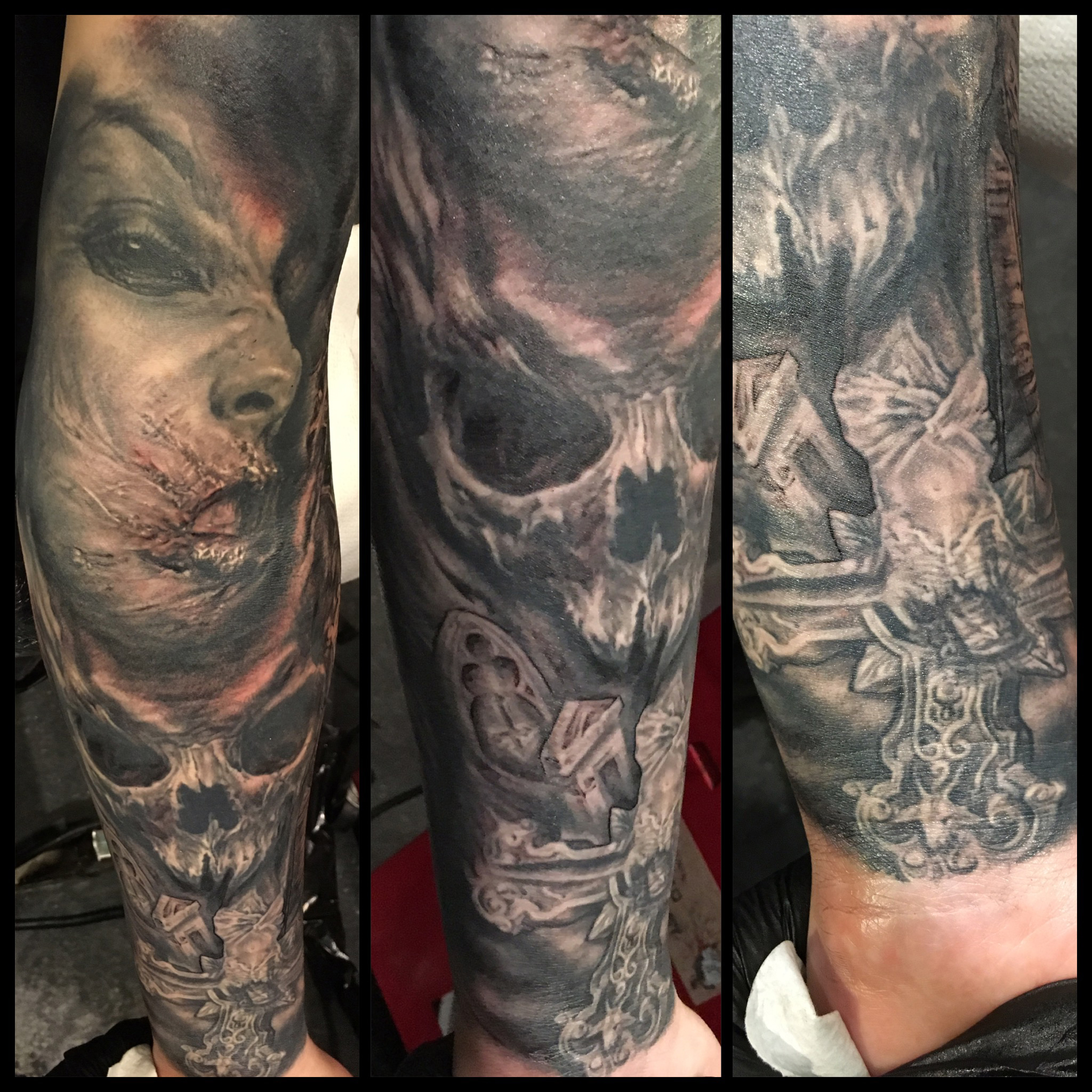 Black and Grey 'All Things Unholy' Horror Sleeve Tattoo, (some fresh, some healed) sleeve in progress