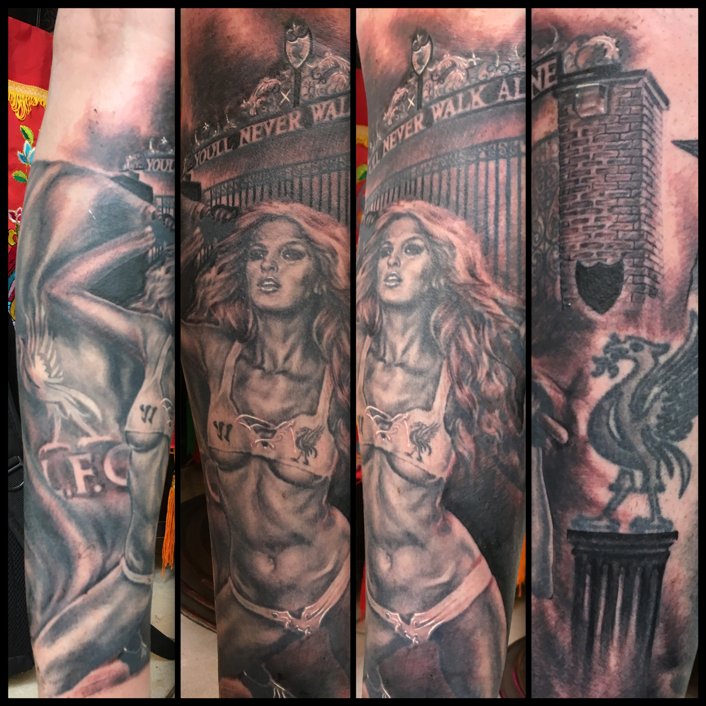 Black and Grey Liverpool FC Pin Up Tattoo with Shankly Gates, (figure is healed in this photo, background is fresh)