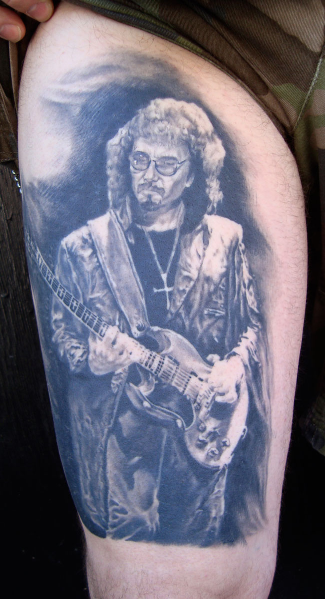 Black and Grey Tony Iommi of Black Sabbath Portrait Tattoo, (healed)