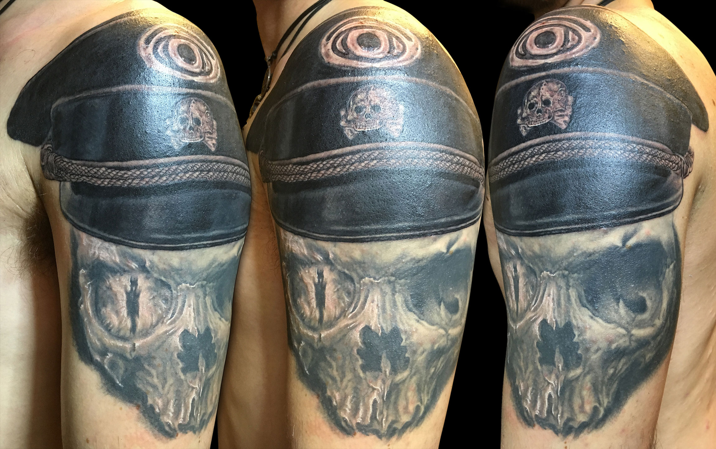 Black and Grey Evil Overlord Skull Tattoo with All Seeing Eye of Sauron,  cap of sleeve in progress