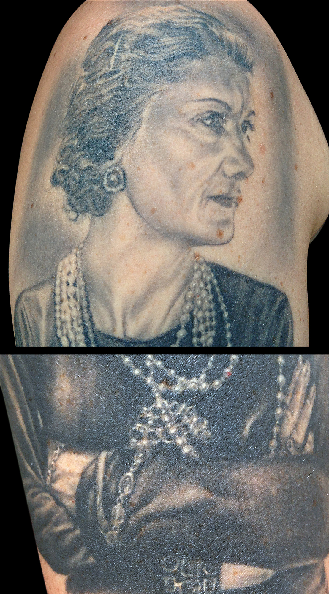 Black and Grey Coco Chanel Portrait Tattoo, (healed) detail zoom of face and jewelry