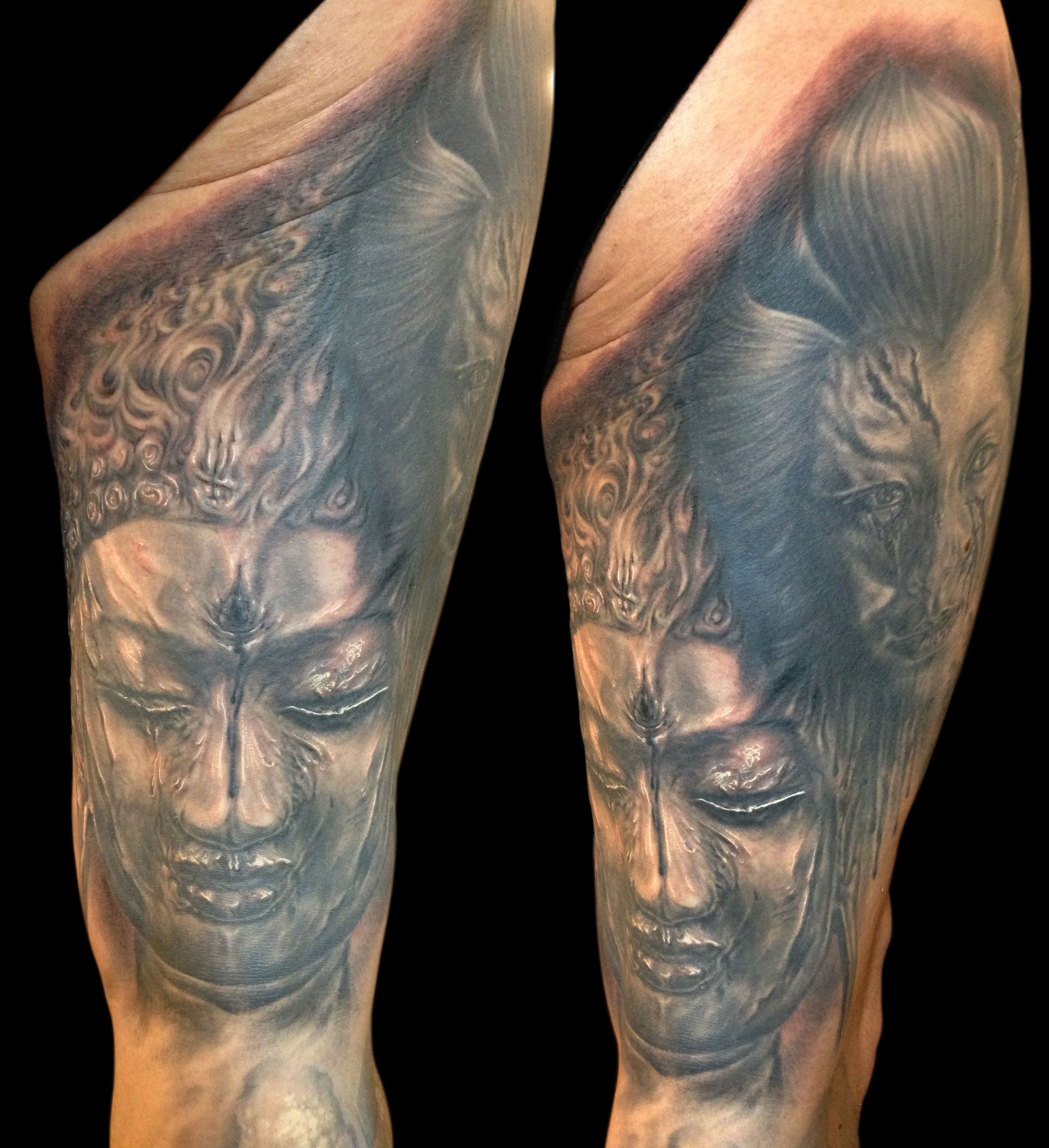 Back and Grey Gory Buddha and Geisha Horror Portrait Tattoo on thigh, (part fresh part healed) Tattoo Ink Explosion, Mönchengladbach Tattoo Convention, Germany