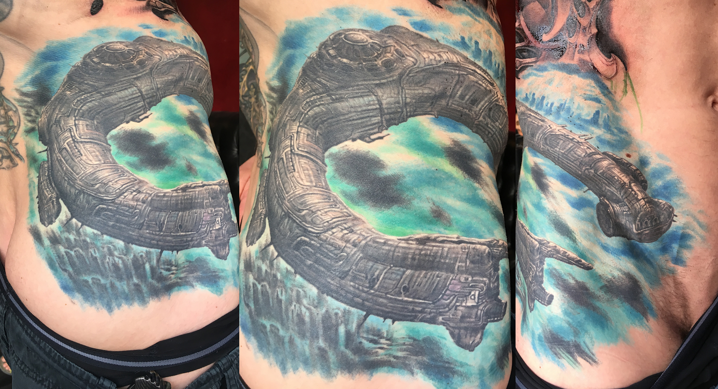 Color Realism Tattoo of Spaceship from Prometheus, (healed photo) on hip
