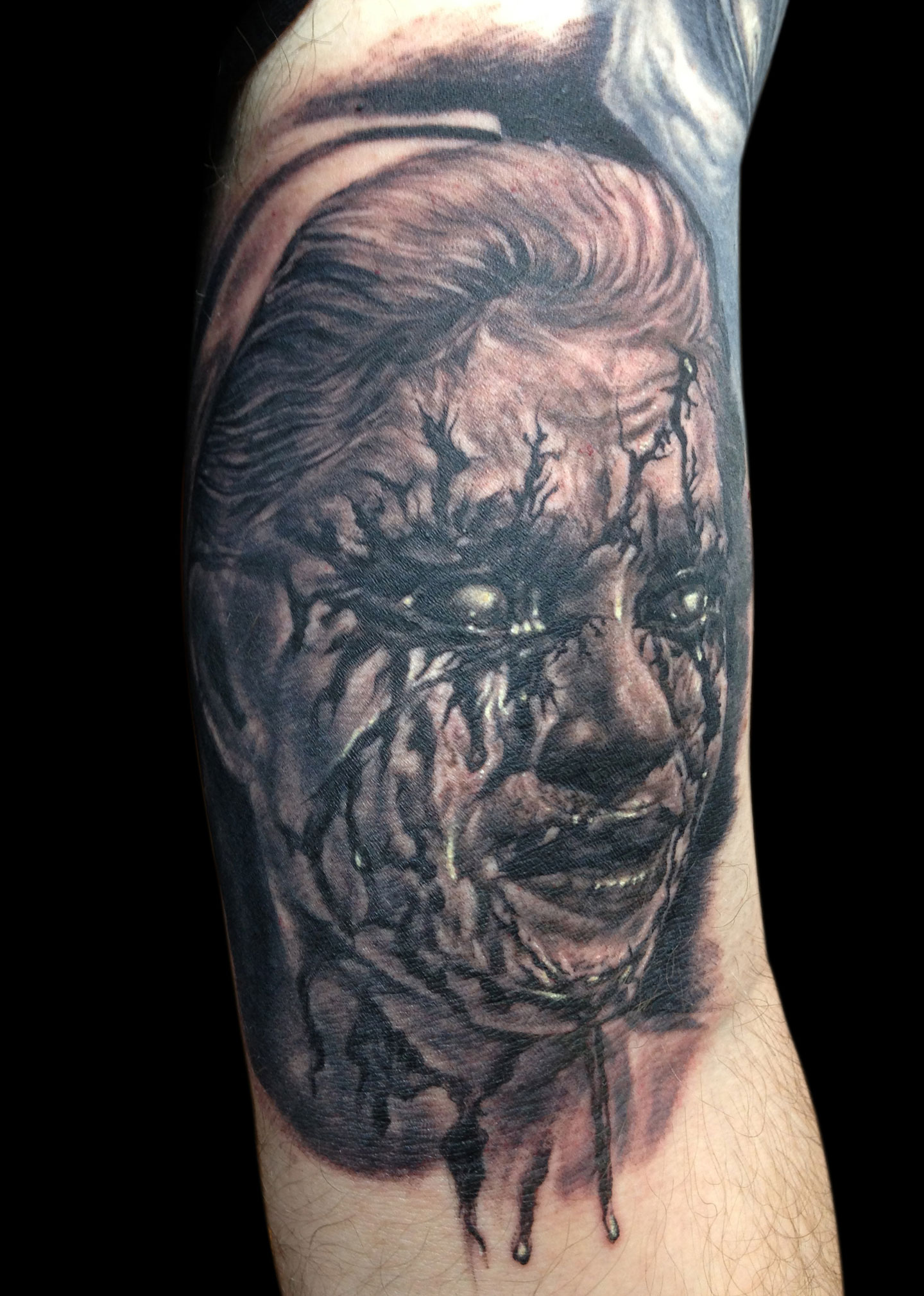 Black and Grey Bloody Nurse Horror Portrait Tattoo, (fresh) Le Mondial du Tatouage Convention, Paris, France