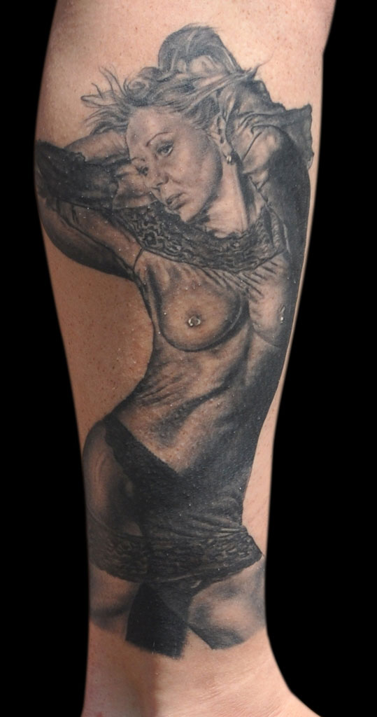 Black and Grey Portrait Tattoo of Wife, (healed) Tattoo Ink Explosion, Mönchengladbach Tattoo Convention, Germany