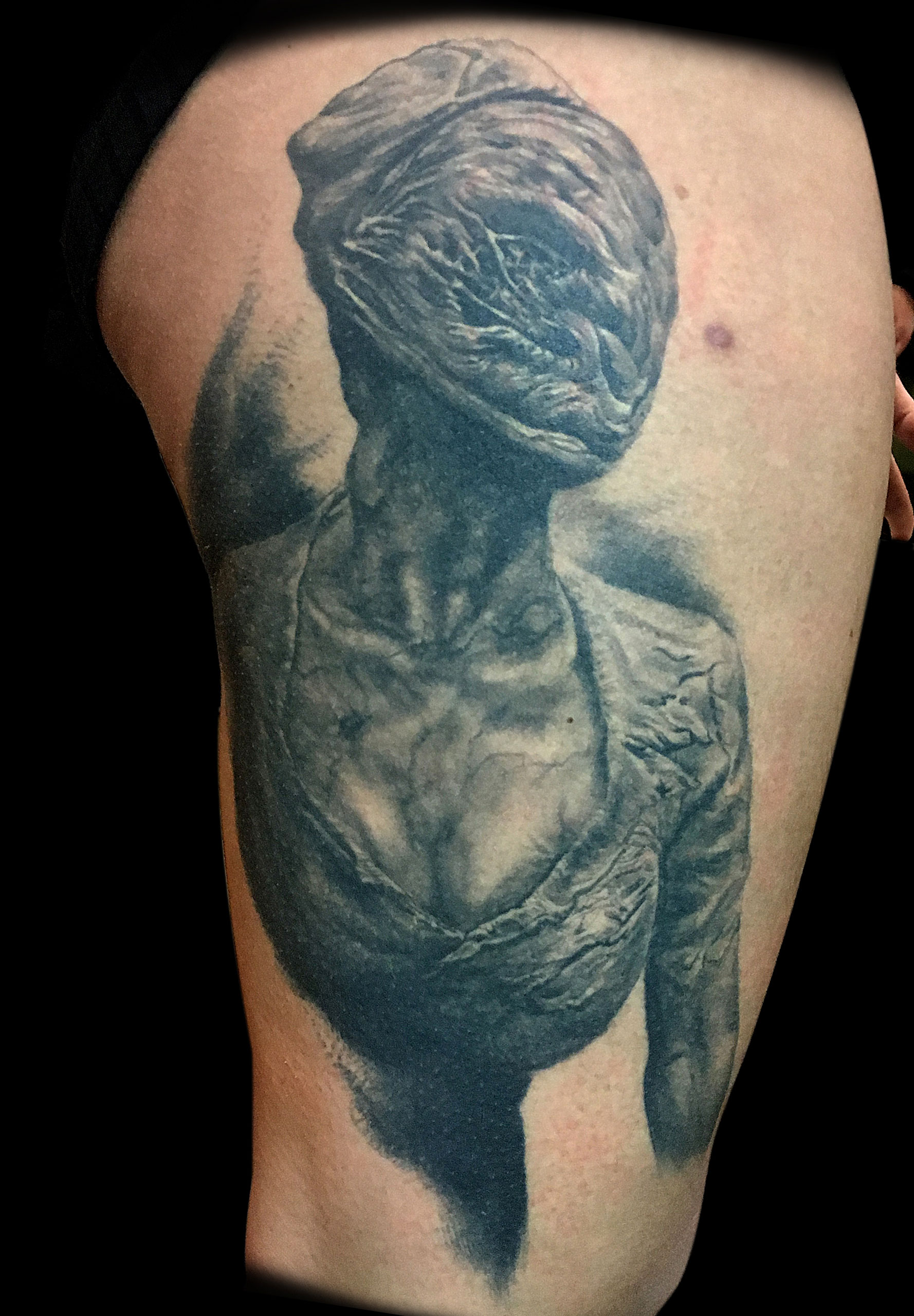 Black and Grey Silent Hill Nurse Horror Portrait Tattoo, (healed) Le Mondial du Tatouage Convention, Paris, France