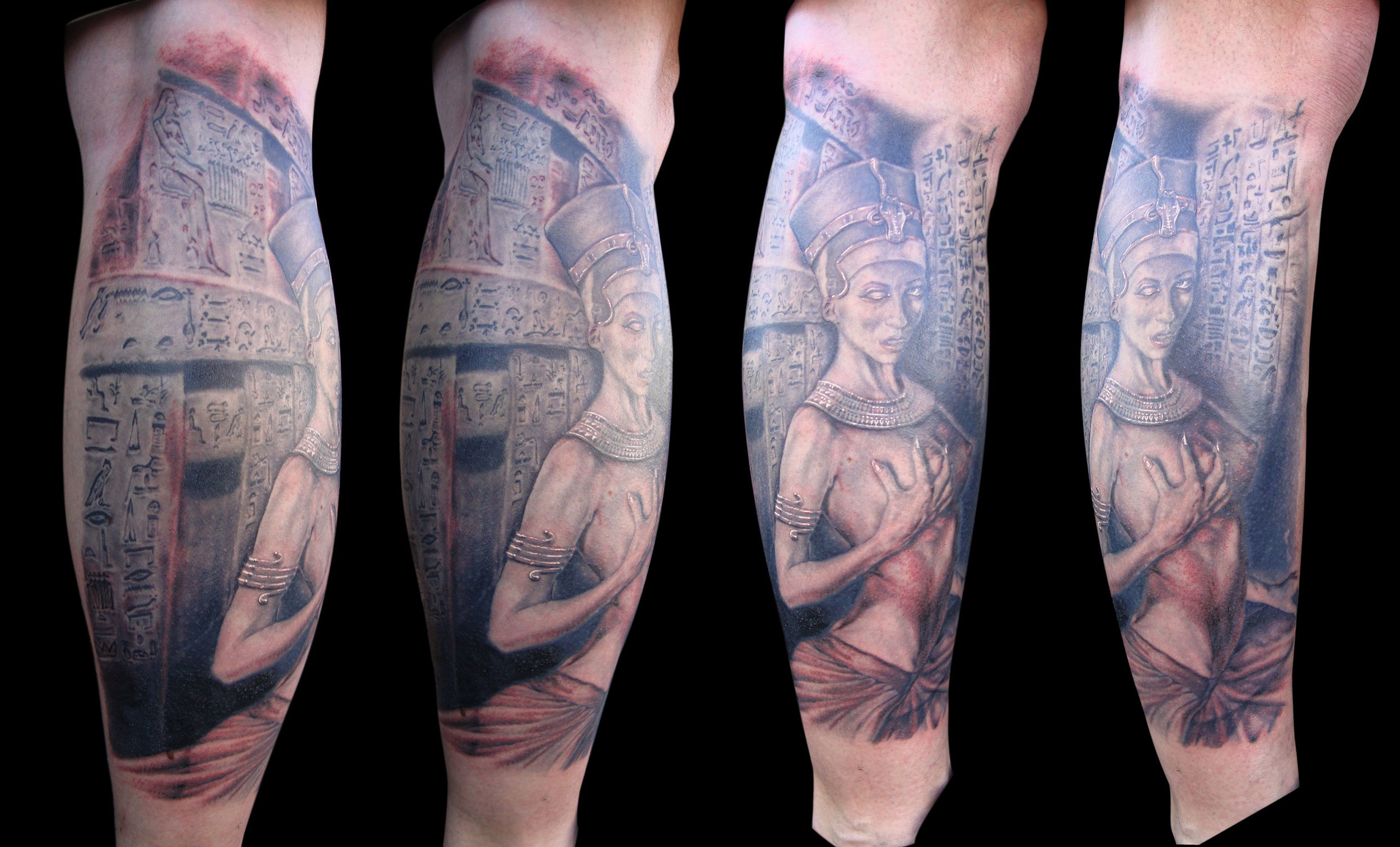 Black and Grey' Undead' Nefertiti Tattoo with False Door, (photo taken after final tattoo session, most is healed except for the reddish parts) on calf, multiple angles