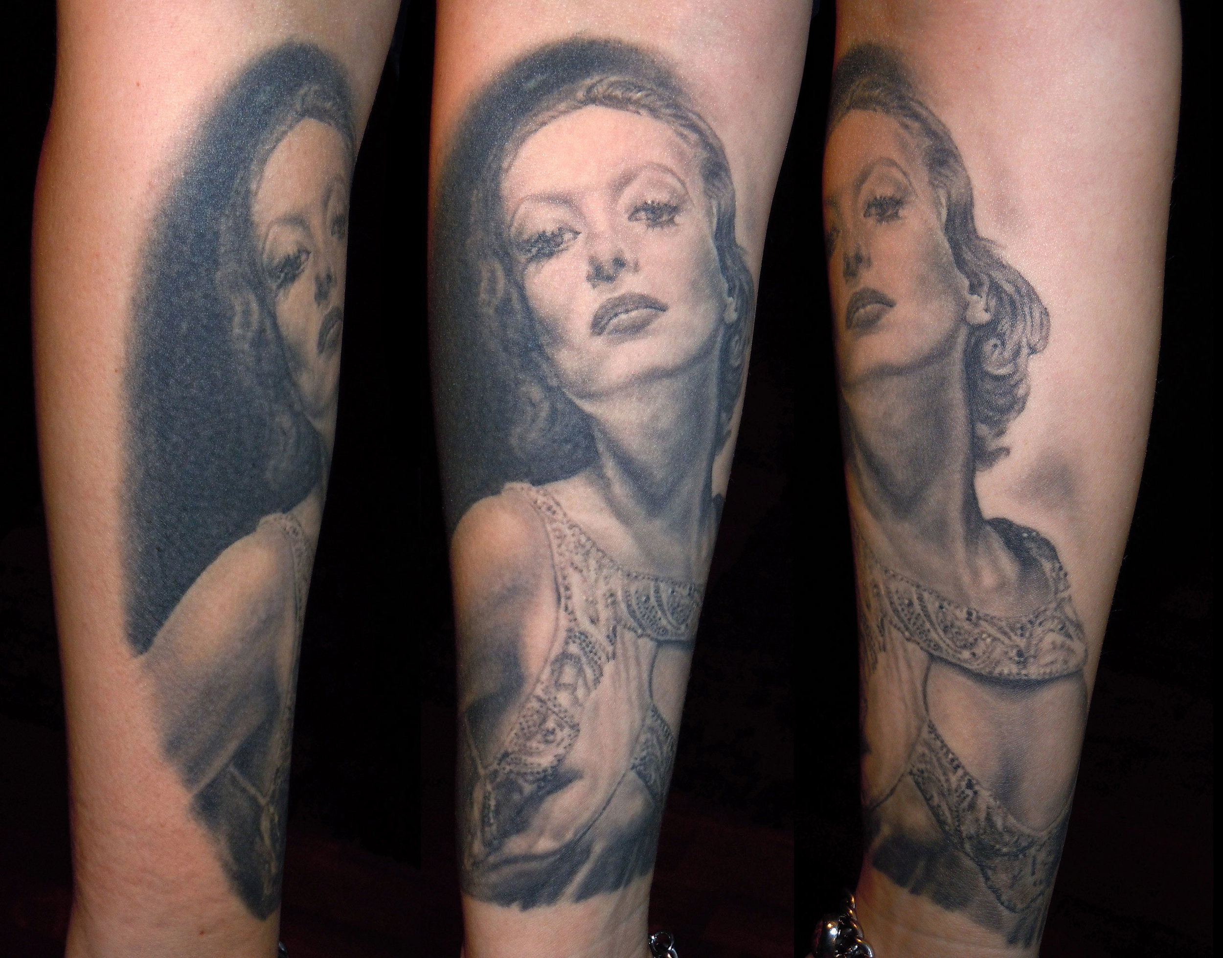Black and Grey Joan Crawford Portrait Tattoo, (healed) International London Tattoo Convention, UK