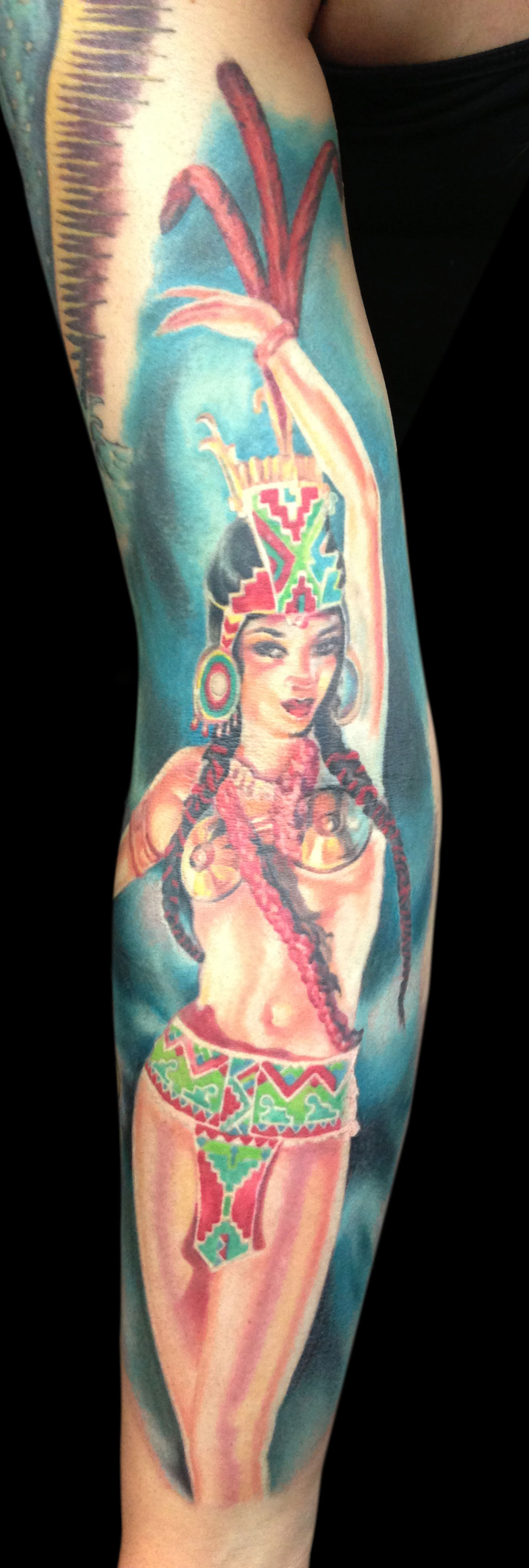 Aztec Fire Goddess Color Pin Up Tattoo, (entire tattoo and figure is 3 years healed in this photo, except for a small portion of the turquoise background on the bottom is fresh)