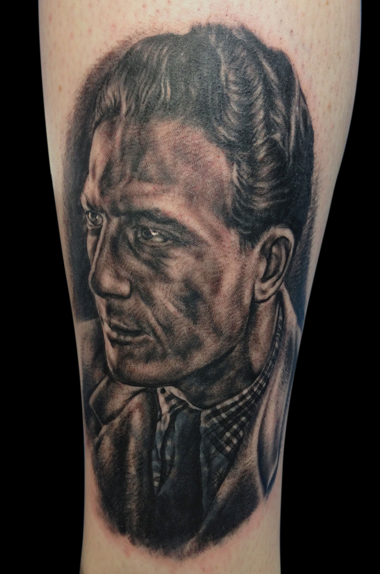 Black and Grey 'Grandpa the Artist and Sailor' Memorial Portrait Tattoo, (fresh) tattoo was done at 'Ink for the Oceans' day at Für Immer Tattoo Berlin,  all of the money for the tattoo was donated in support of the charity.