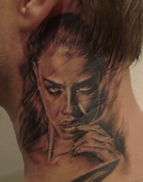 Black and Grey Neck Chick Portrait Tattoo, (fresh), Stockholm Ink Bash, Sweden